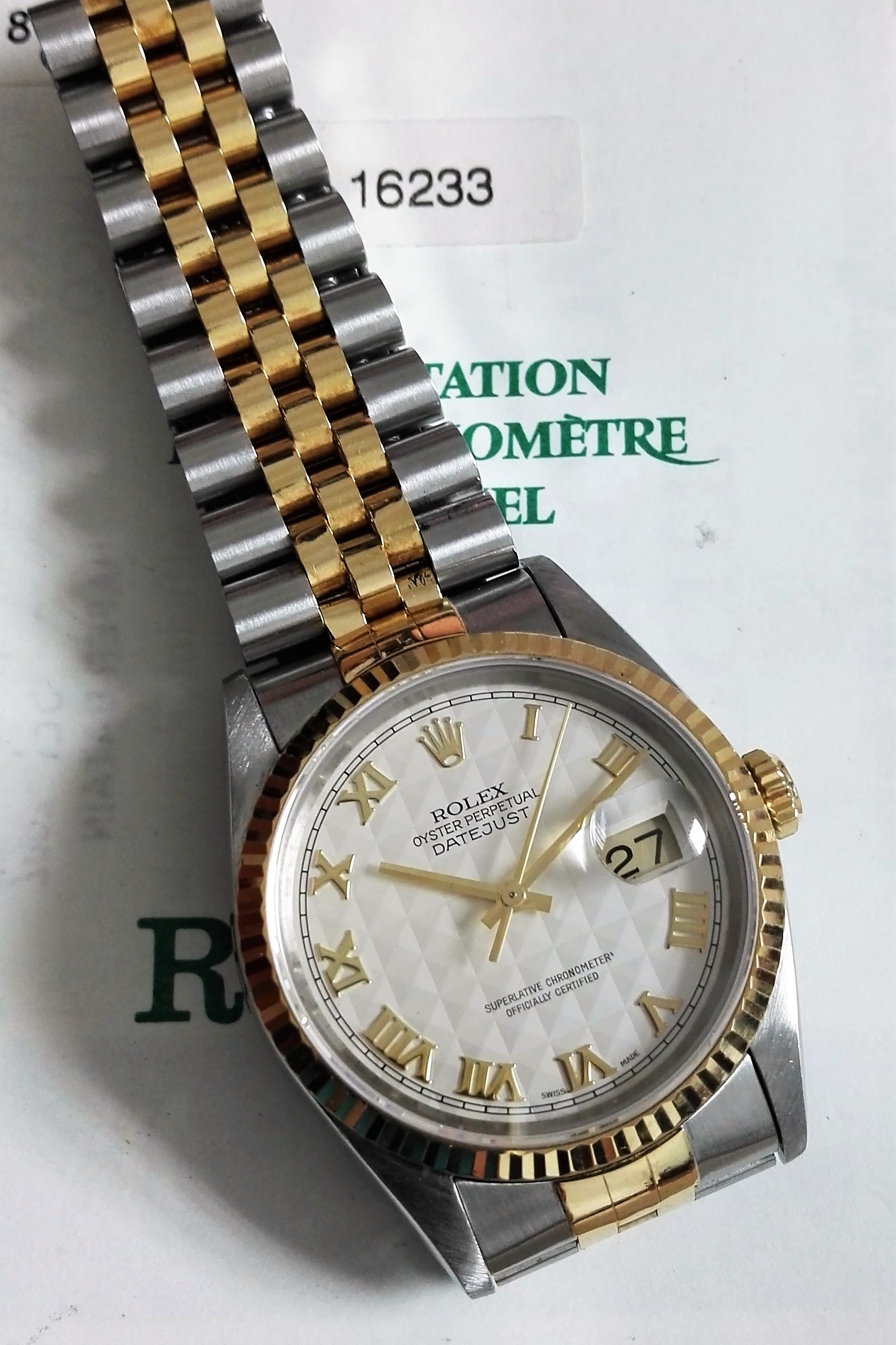 Rolex Datejust Datejust Men's 2-Tone Watch 16233 Ivory Colored Pyramid Dial | San Giorgio a Cremano