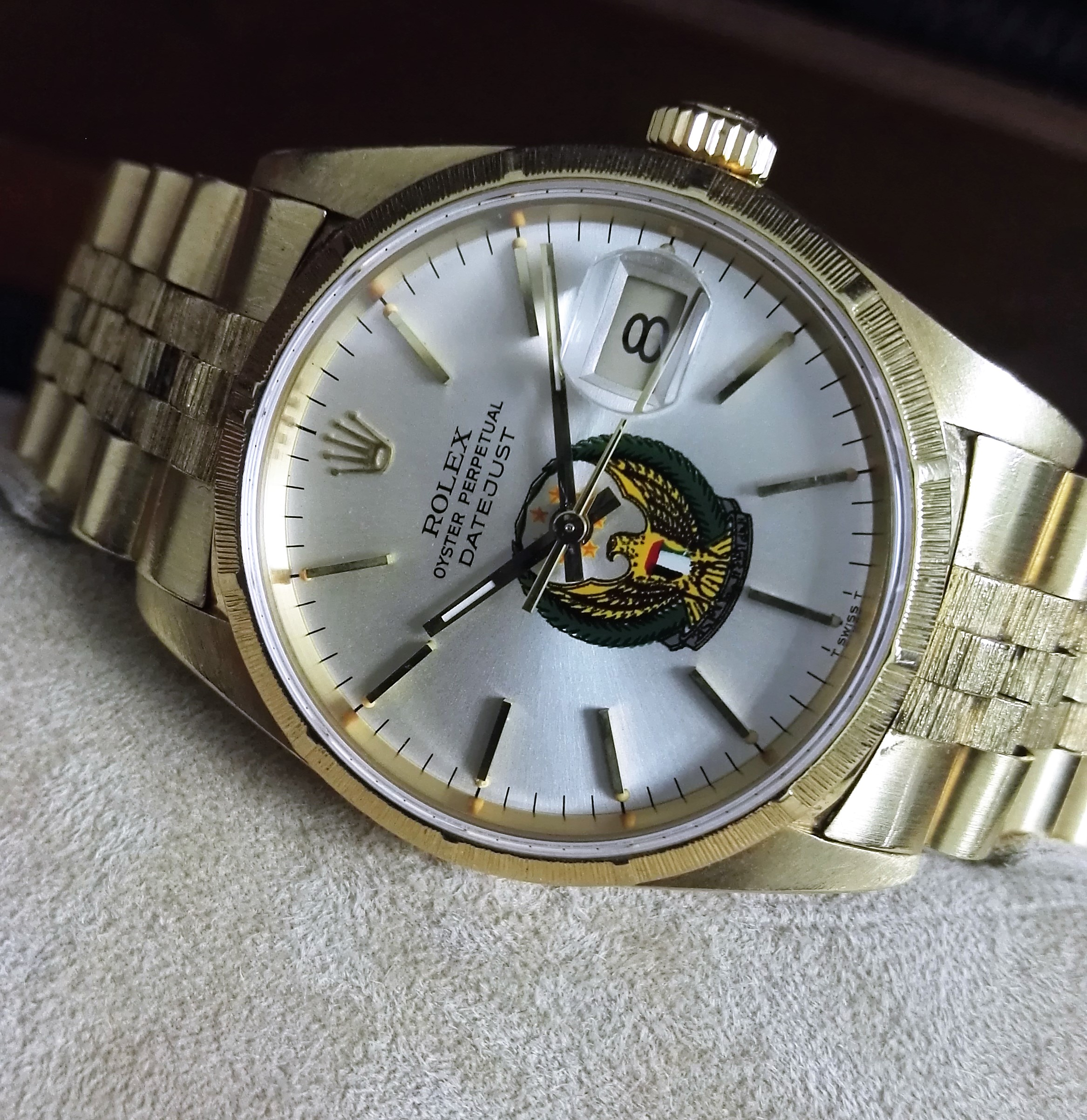 Rolex Datejust Rare Datejust bark finish UAE dial 16248 all 18 kt gold   San Giorgio a Cremano