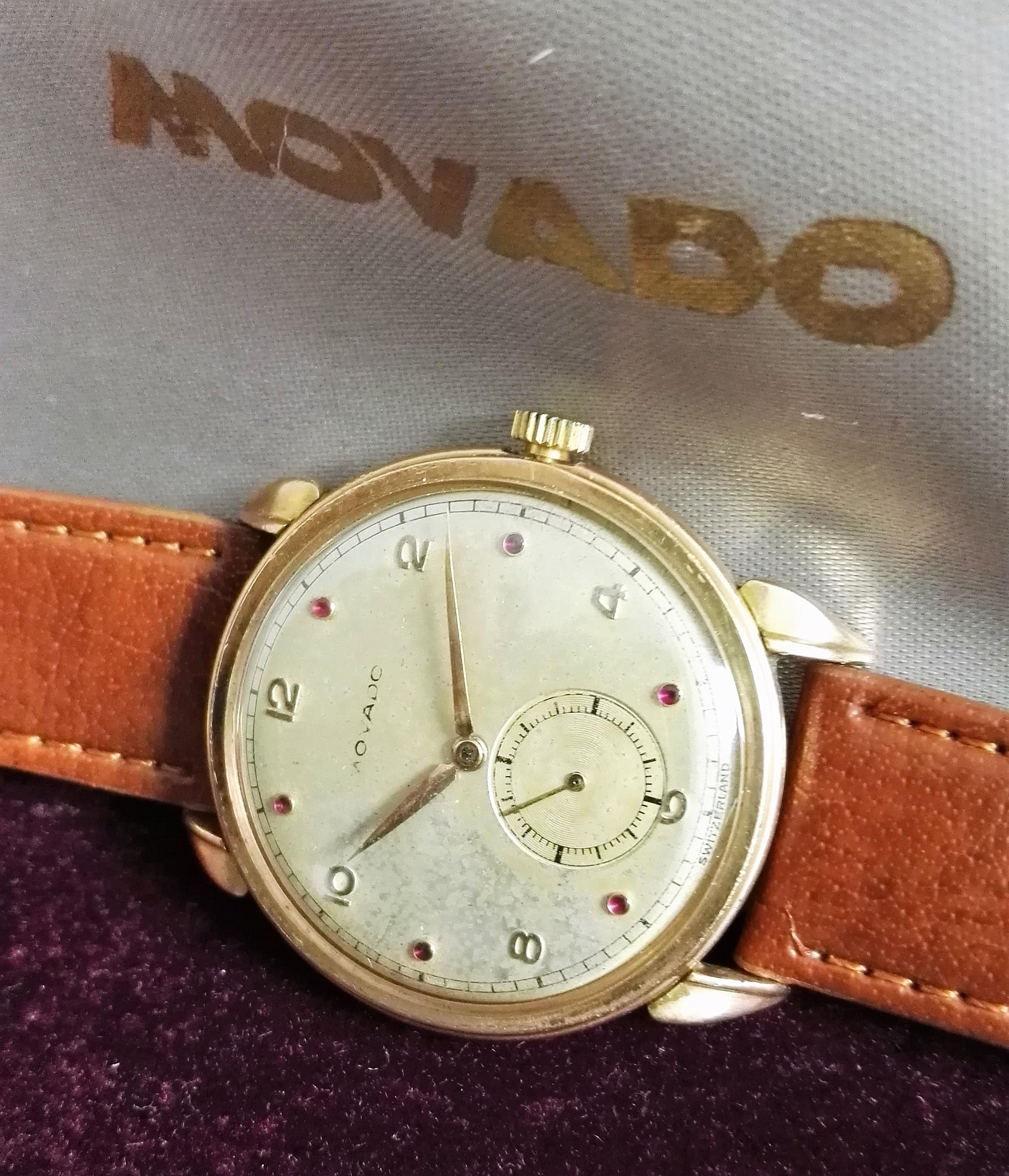 Movado rare fancy lug 18 kt rose gold dial ruby mm 34 - box | San Giorgio a Cremano