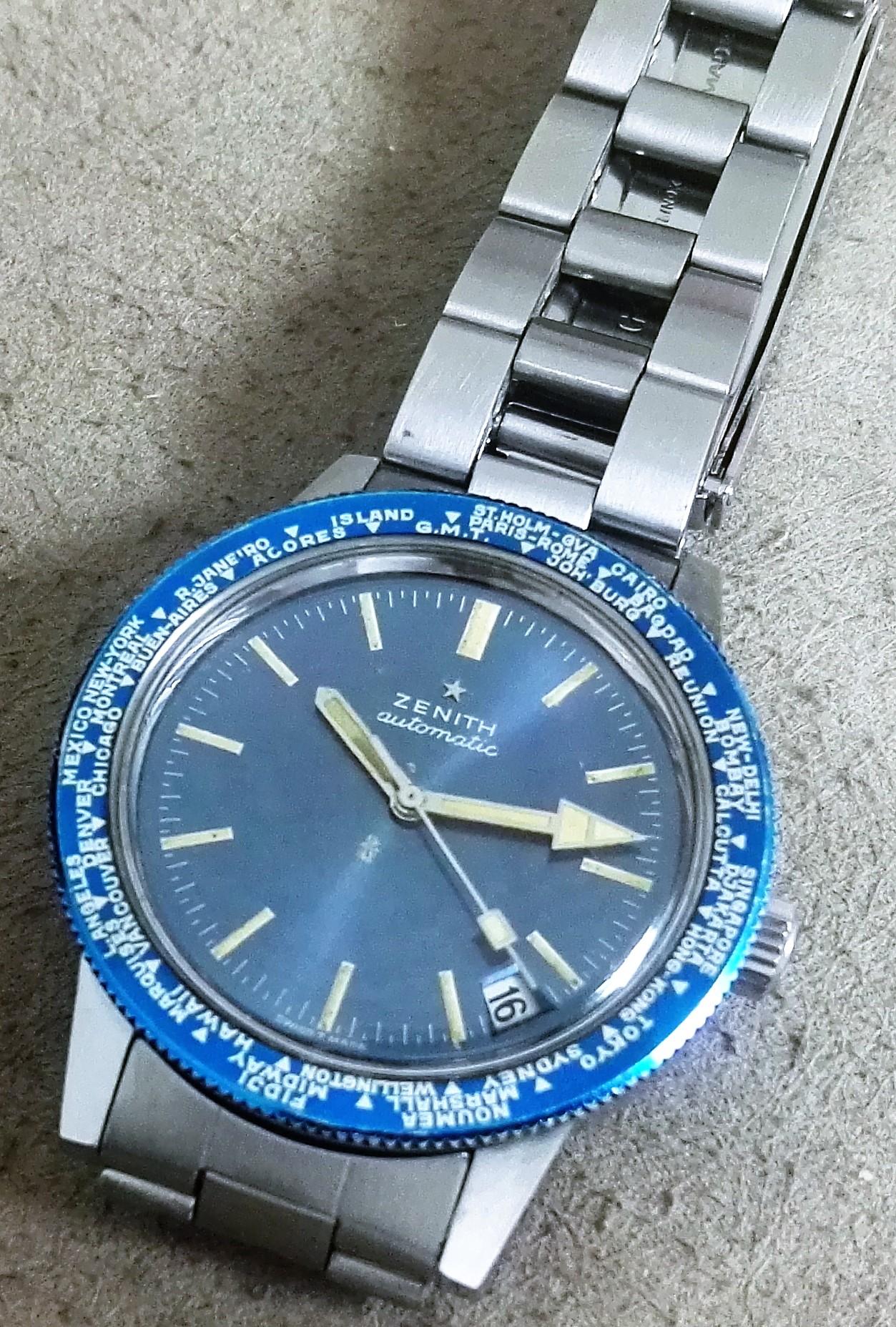 Zenith A3634 Vintage Diver World Timer band Gay Freres no polished | San Giorgio a Cremano