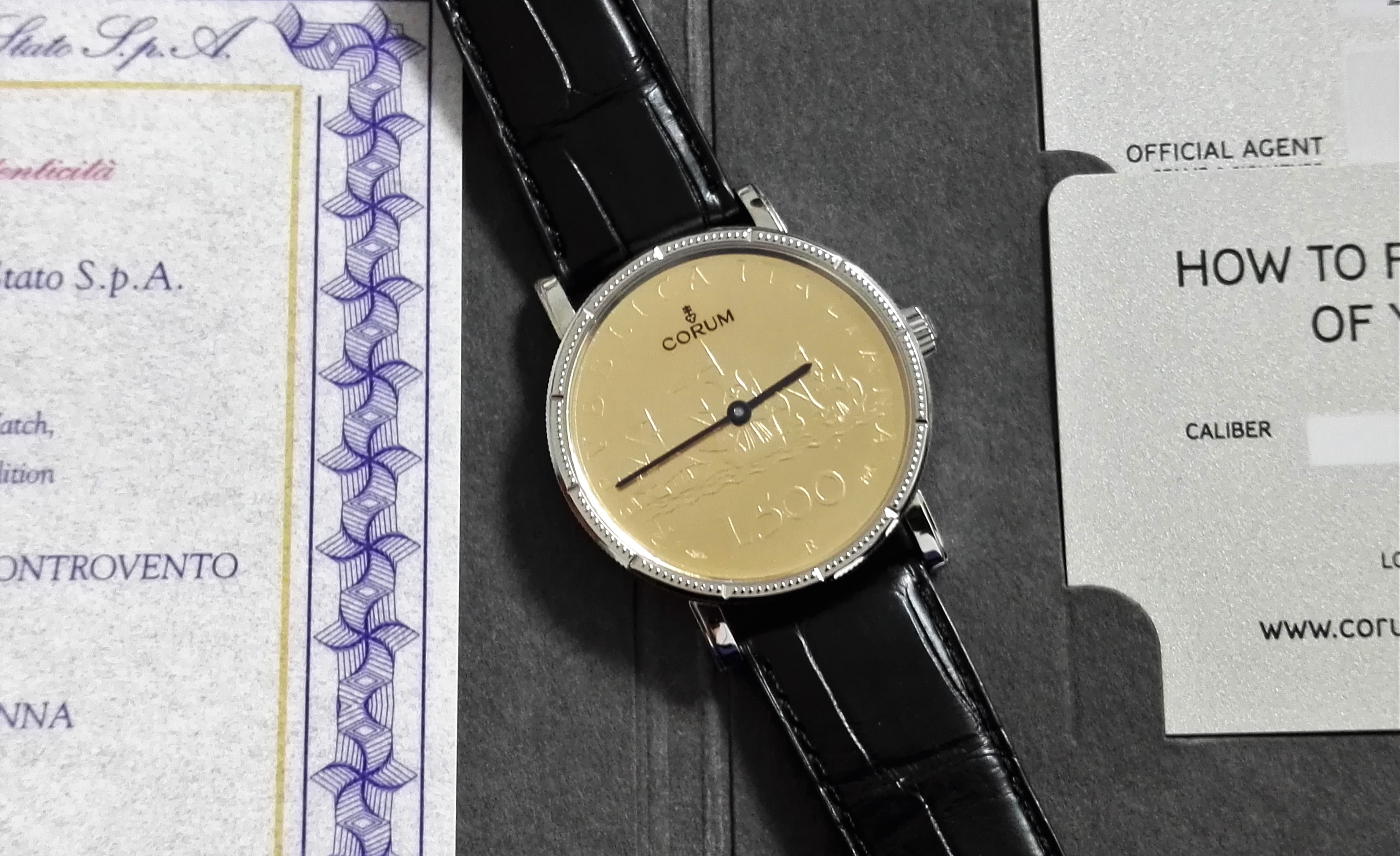 Corum Artisan Coin Watch 500 lire Steel/18 kt Gold Caravelle New | San Giorgio a Cremano