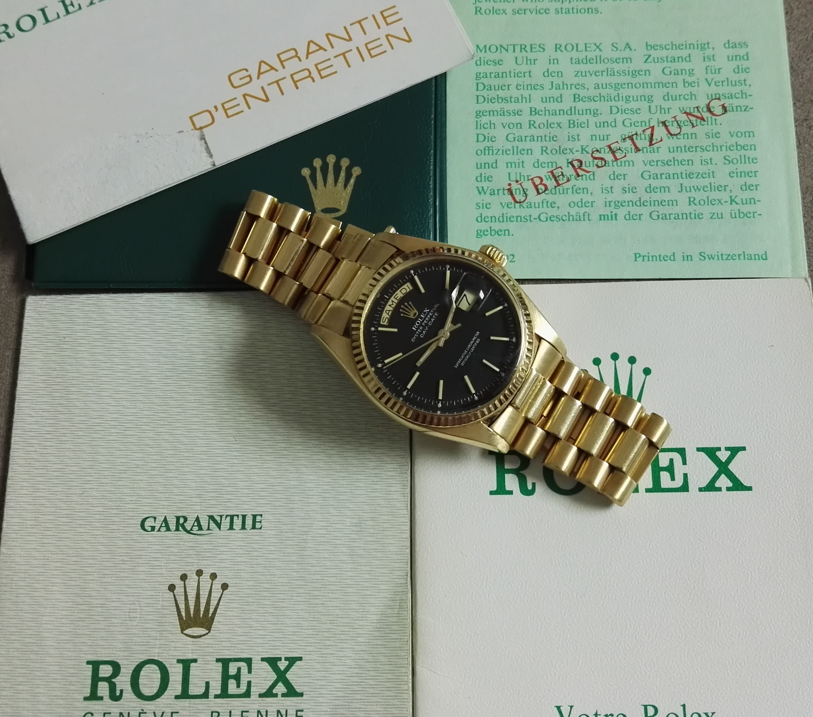 Rolex Day-Date / President Day-Date 36mm President Black Dial 18k Gold 1977 full set | San Giorgio a Cremano