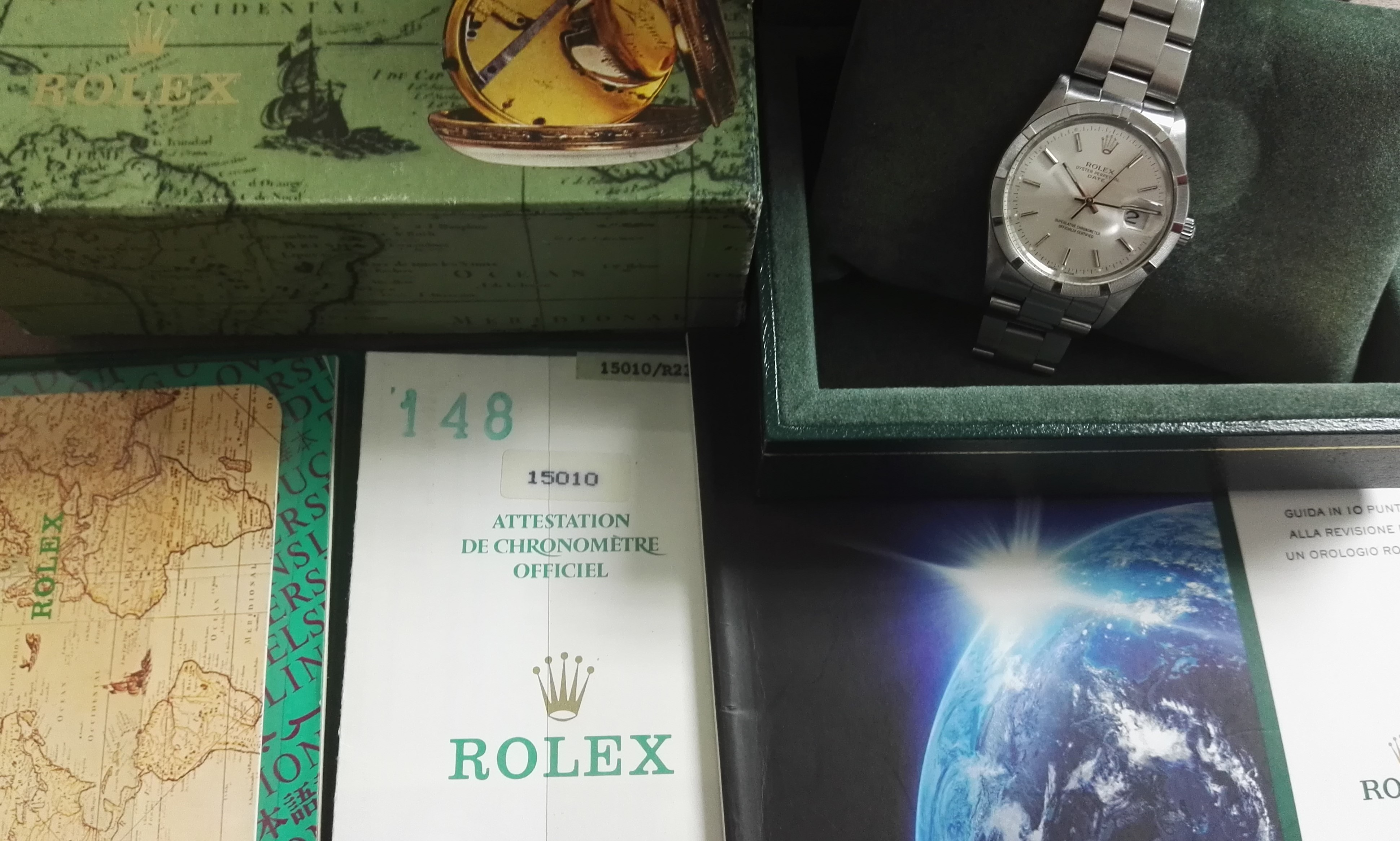 Rolex Oyster Perpetual Date Date 15010 Year 1987 34 Mm Stainless Steel Watch full set | San Giorgio a Cremano