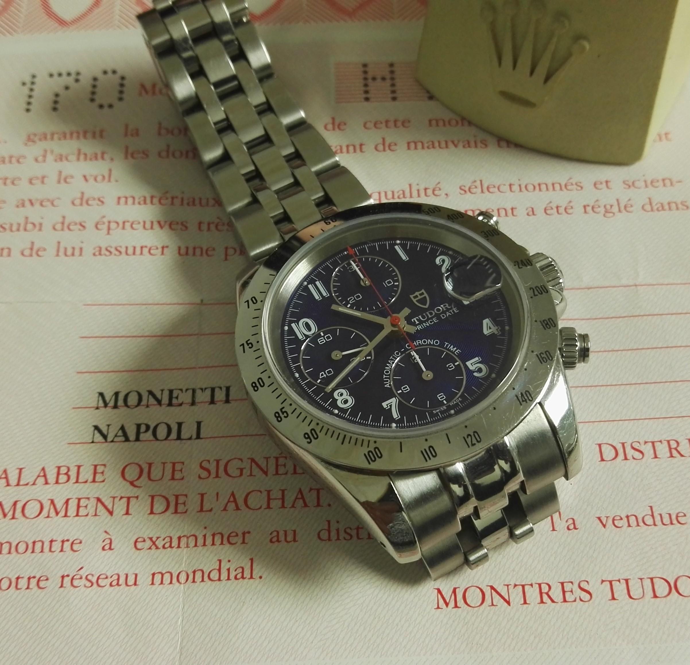 Tudor Prince Oysterdate Prince Date Automatic Chrono Time pre-Tiger BLUE dial   San Giorgio a Cremano