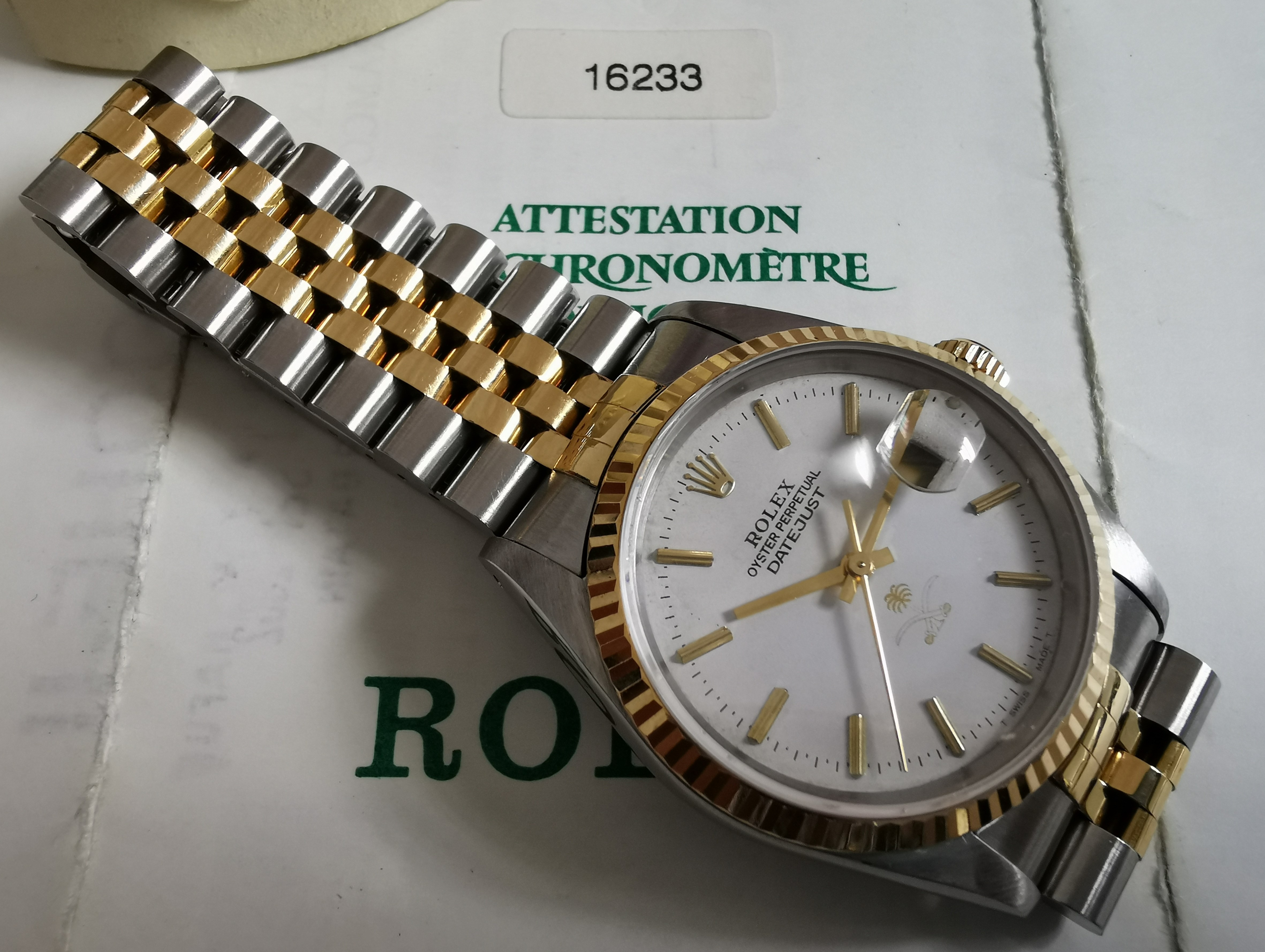 Rolex Datejust Rare Saudi Arabia Datejust Men's 2-Tone Watch 16233 Full Set | San Giorgio a Cremano