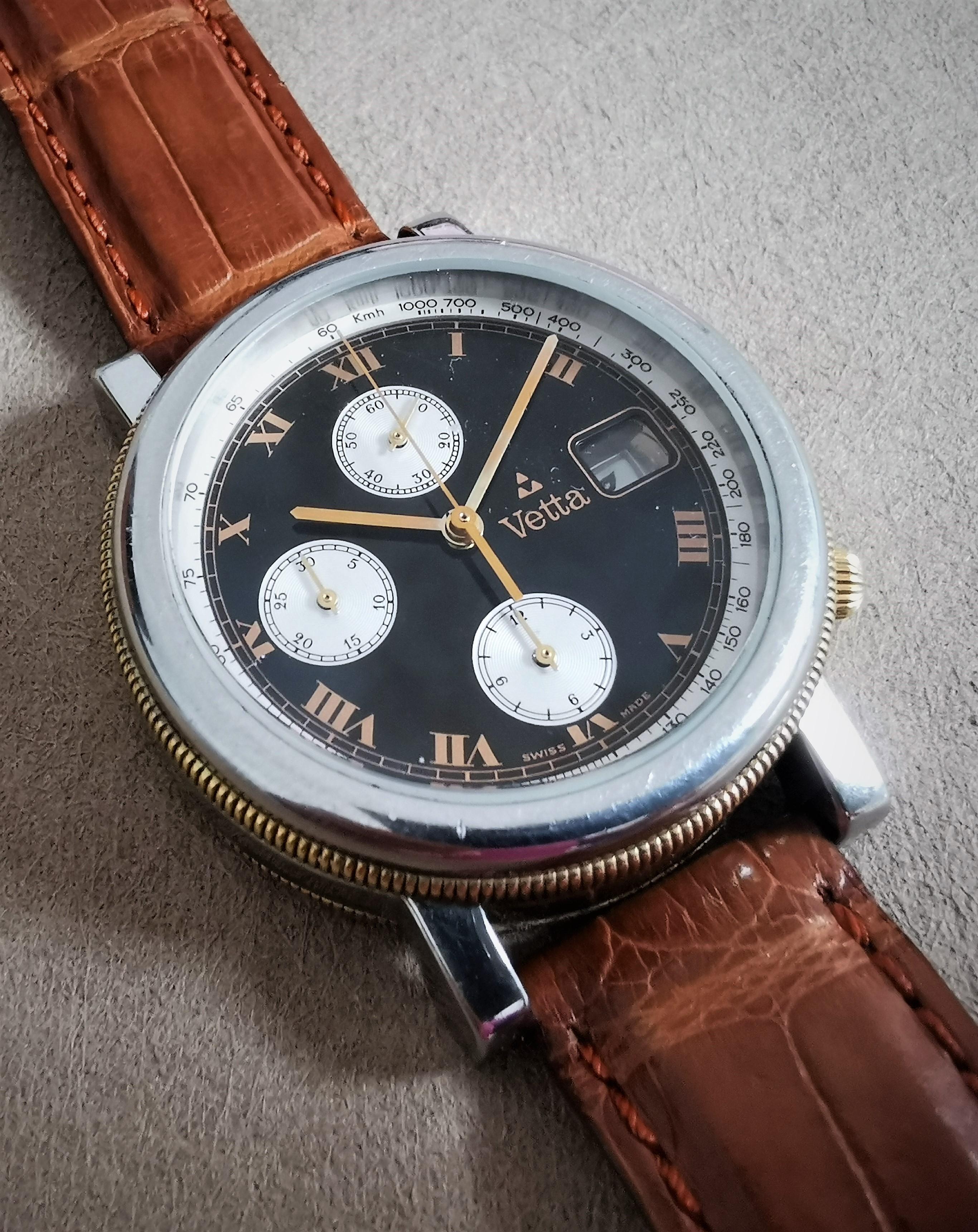 Wyler Vetta Spartacus chronograph swiss quartz movement black dial mm 38 | San Giorgio a Cremano