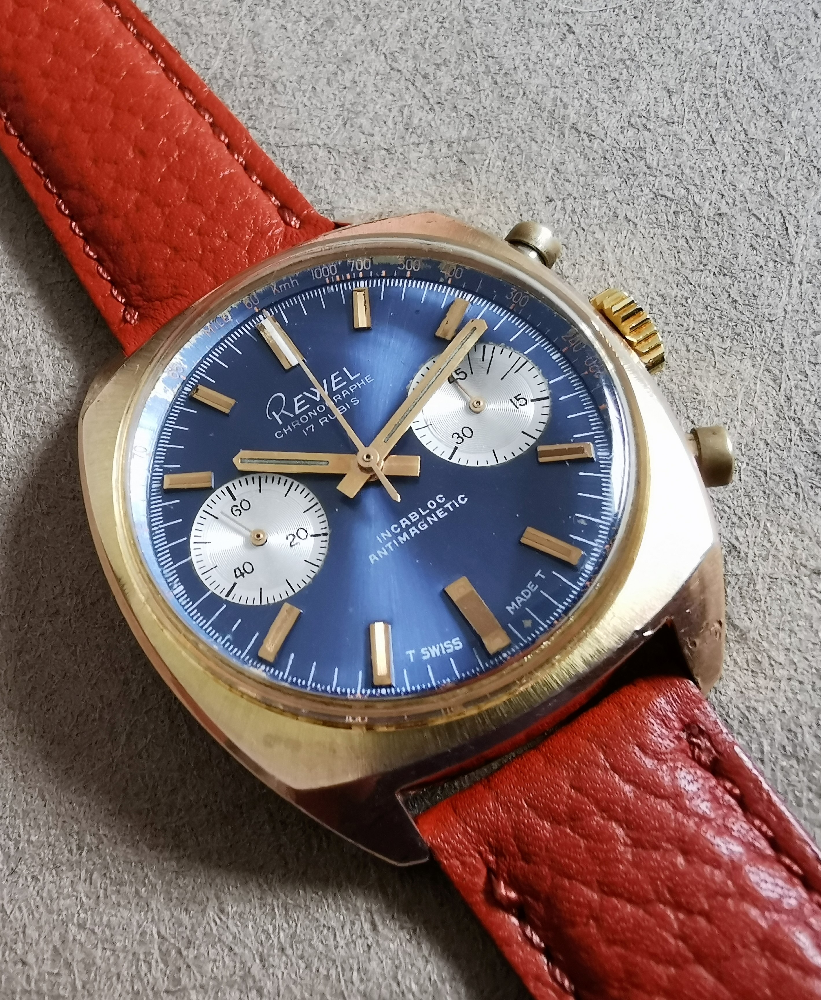 Anonimo Rewel Chronograph rose gold plated blu dial valjoux 7733 mm 36 | San Giorgio a Cremano