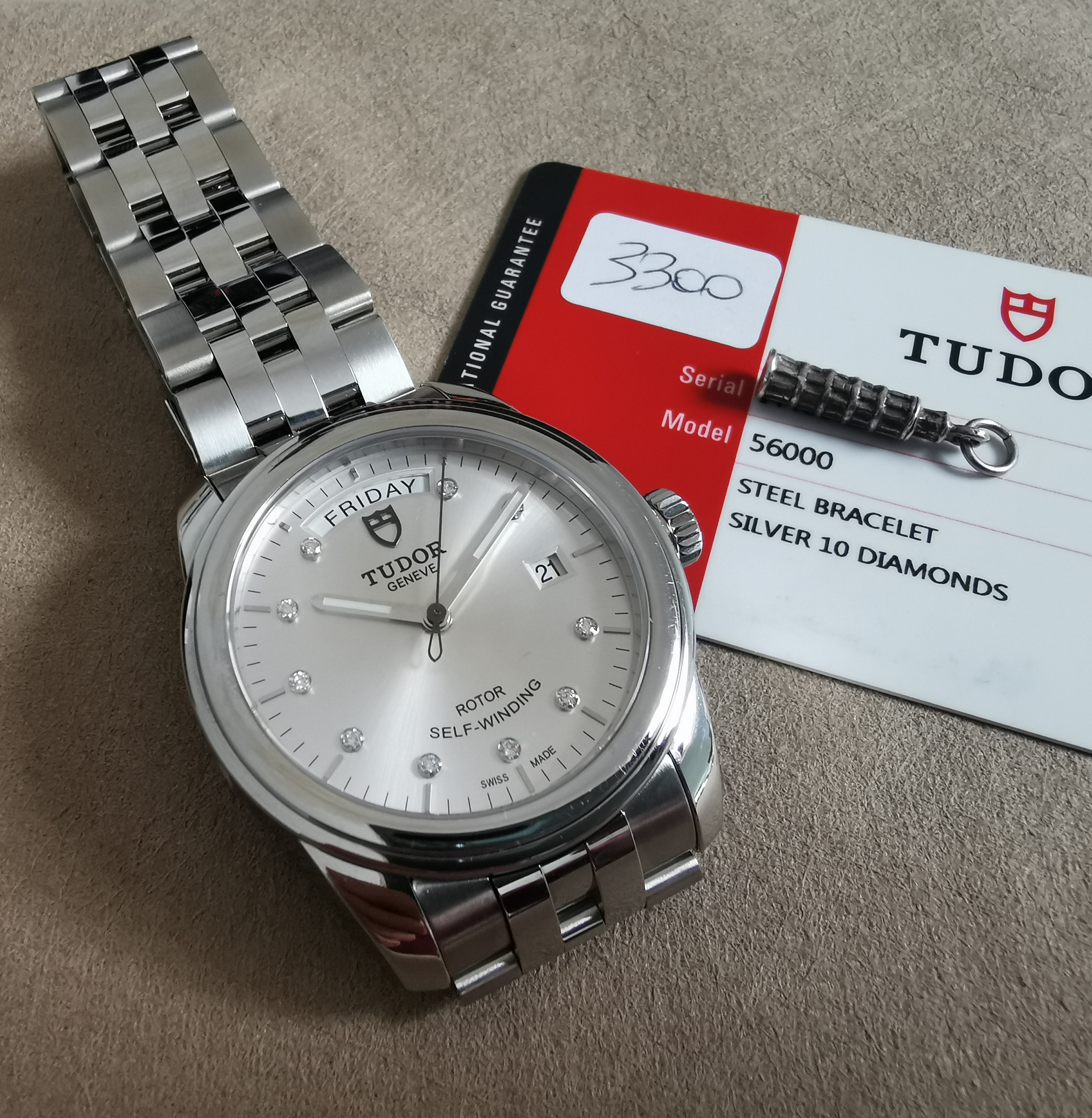 Tudor Glamour Date-Day Glamour Date-Day Steel Silvered Diamond-Set Dial 39mm new 07-19 | San Giorgio a Cremano