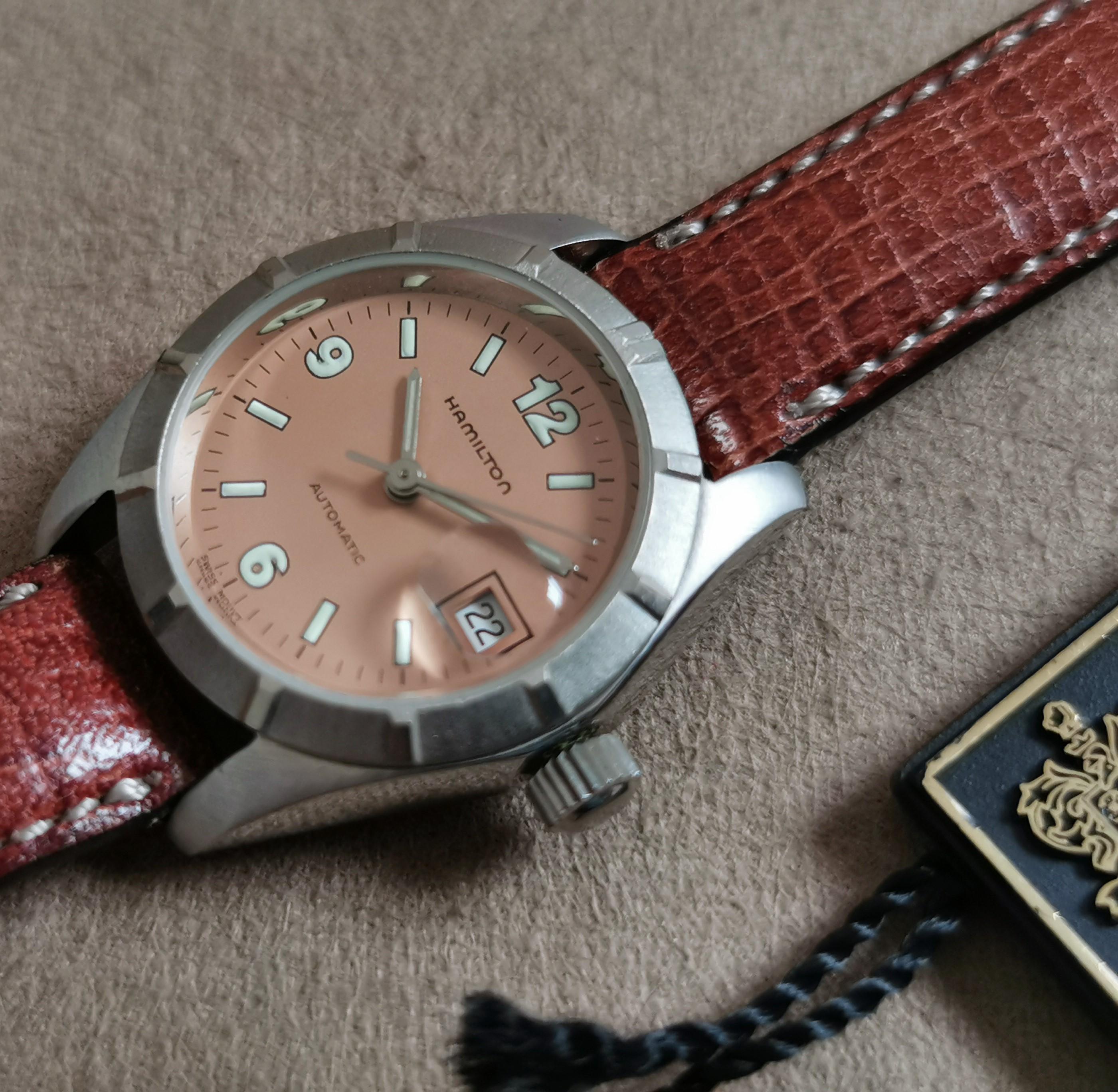Hamilton Vintage lady watch steel automatic ref. 7810 salmon pink dial mm 26 newoldstock   San Giorgio a Cremano