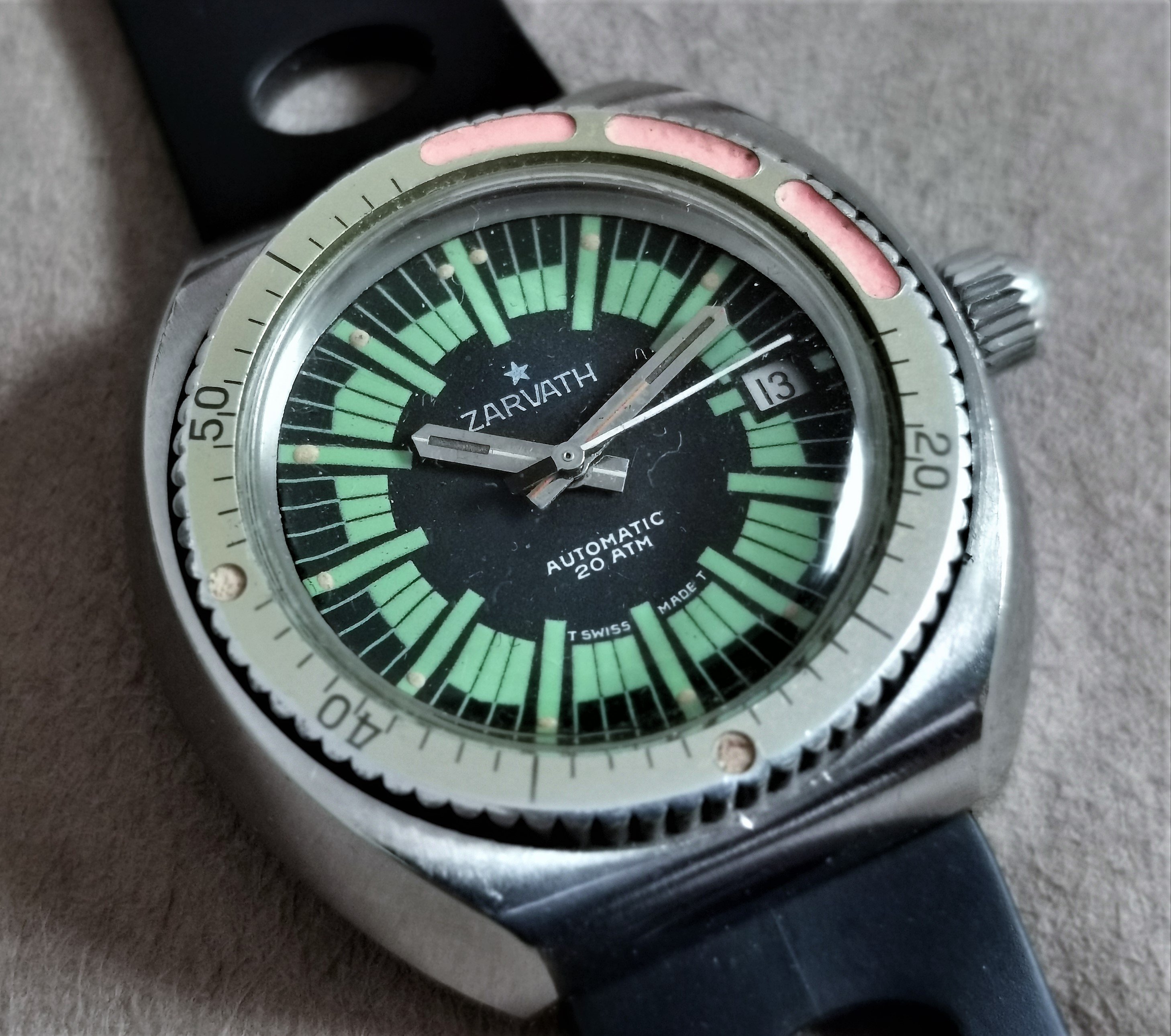 Anonimo Zarvath Rare diver vintage mm 40 screw case and crown 200 Mt rotating bezel
