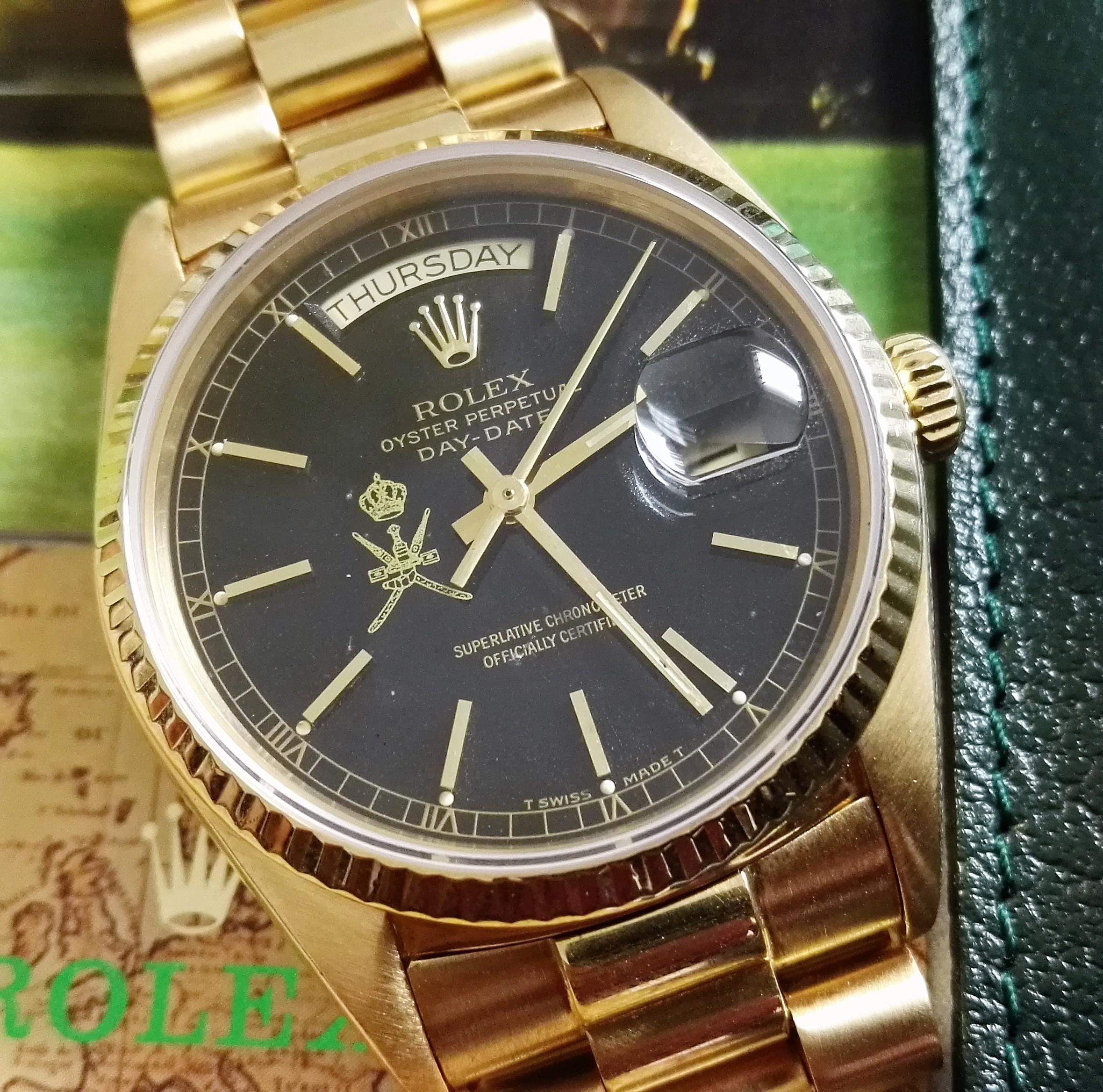 Rolex Day-Date / President Rare Day-Date Ref.18038 Oman 18 kt gold yellow and original Oman box | San Giorgio a Cremano