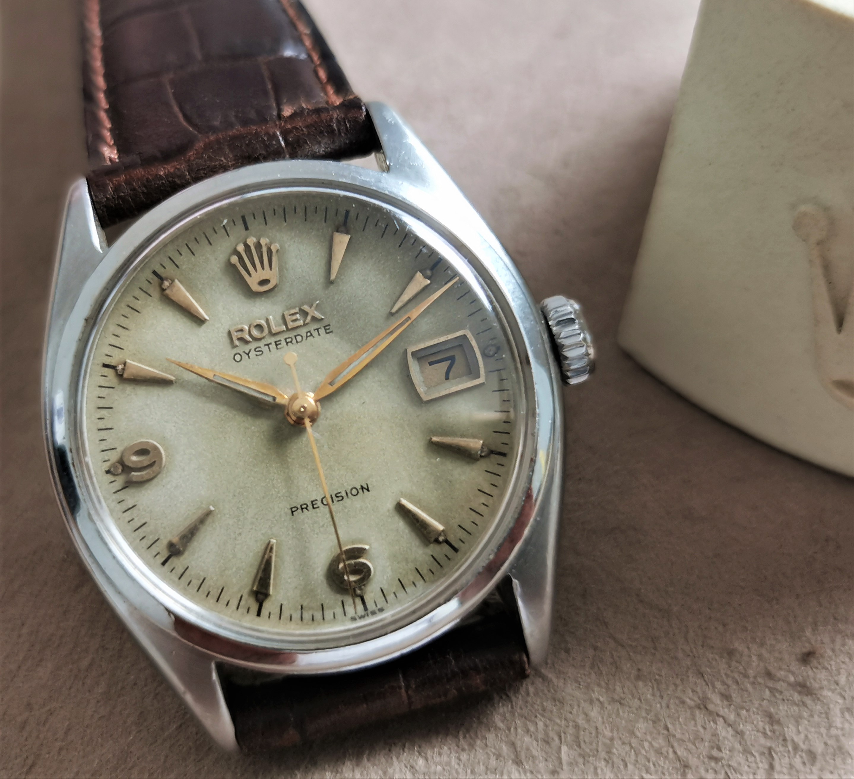 Rolex Oyster Precision Oysterdate Precision 6094 Rare original big crown dial in patina manual wind steel mm 34 | San Giorgio a Cremano