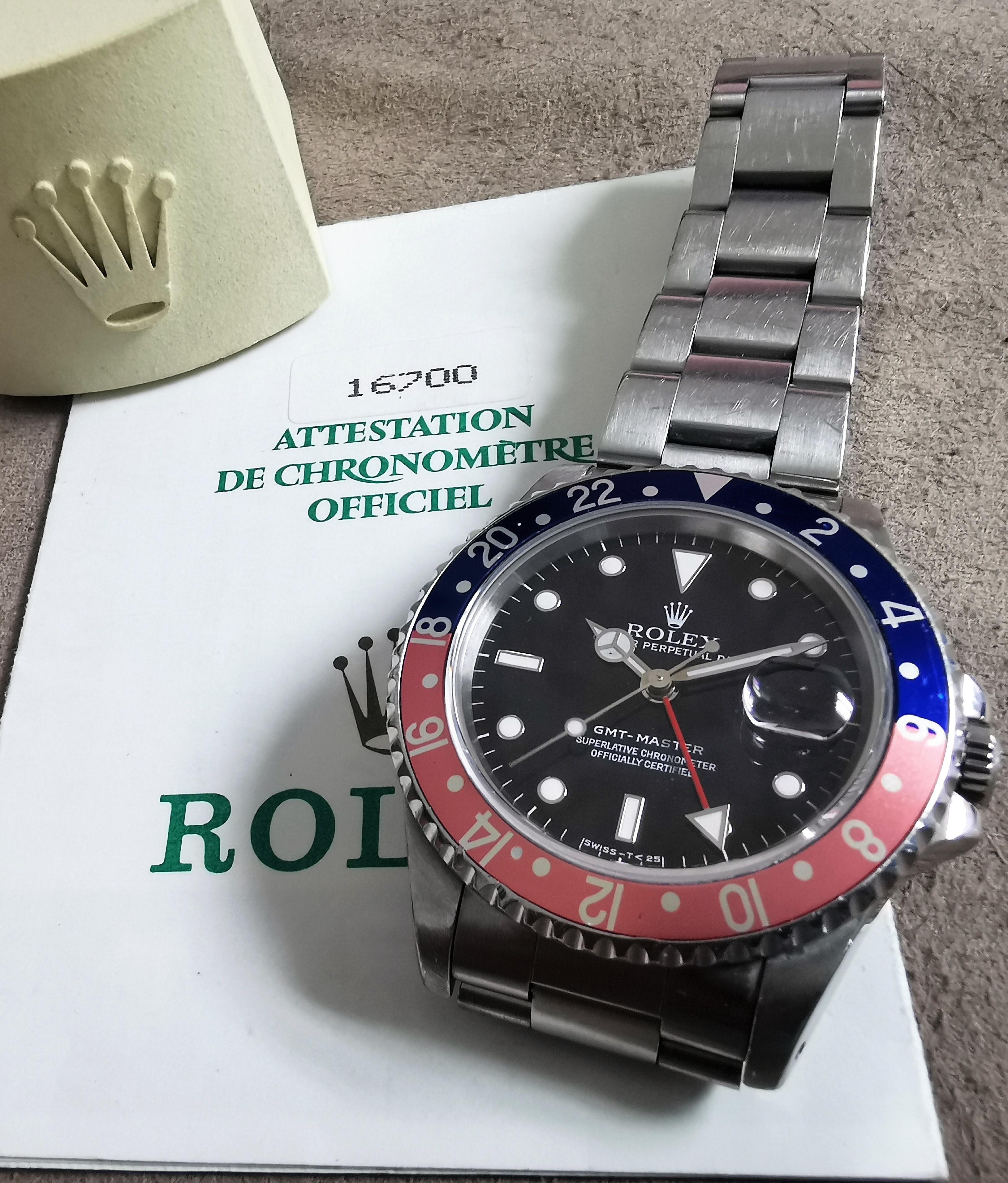 Rolex GMT-Master GMT-Master Ref. 16700 Tritium Pepsi Serial T 1996 warranty - used condition | San Giorgio a Cremano