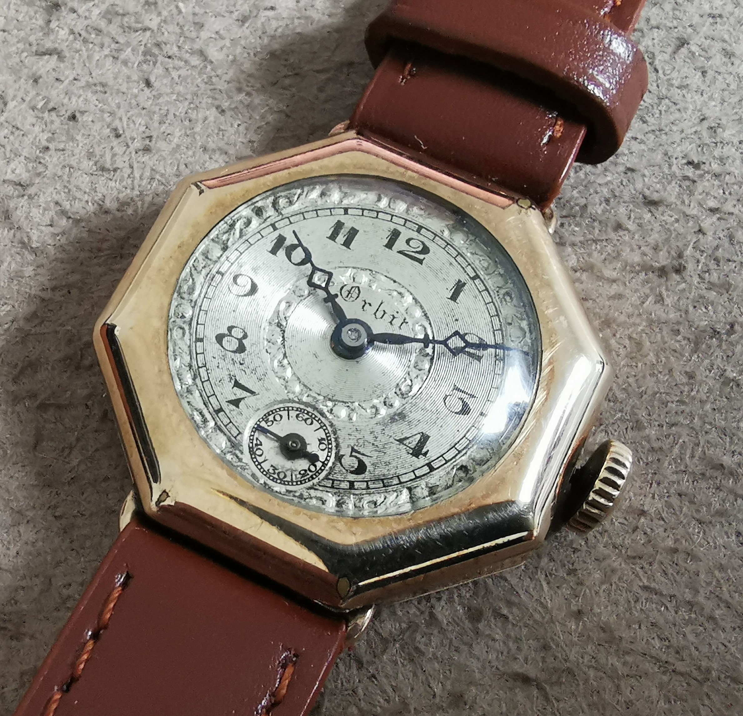 Anonimo Orbit Old lady octagonal 10 kt gold filled case silver dial manual wind 6 jewels | San Giorgio a Cremano