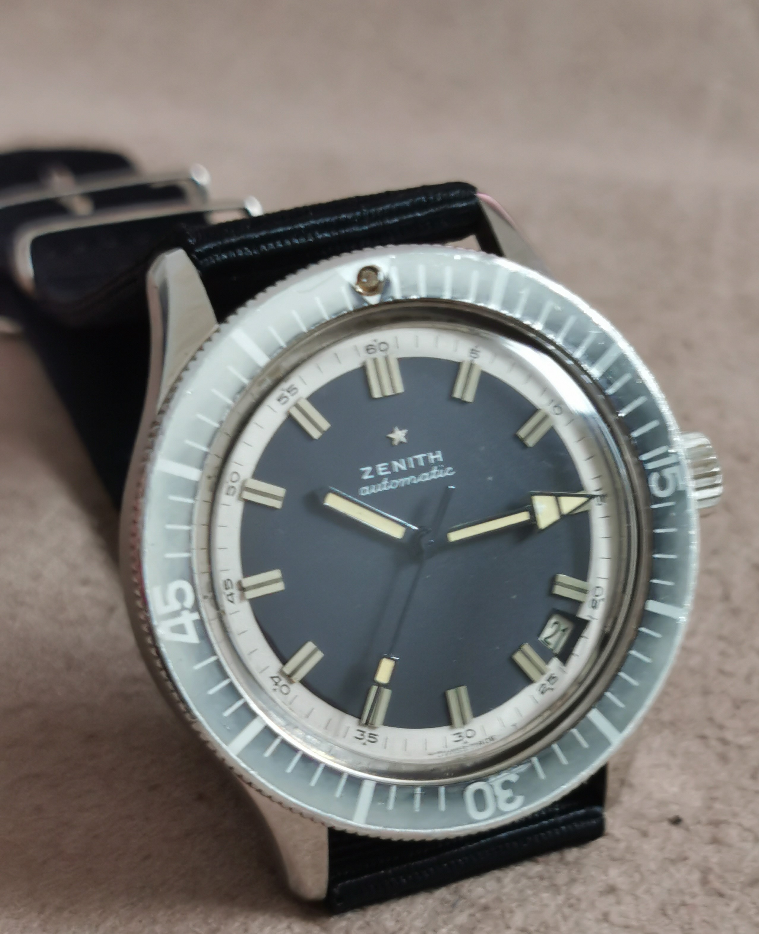 Zenith A3630 Diver 1969 automatic steel mm 38.5 ghost bezel black dial | San Giorgio a Cremano
