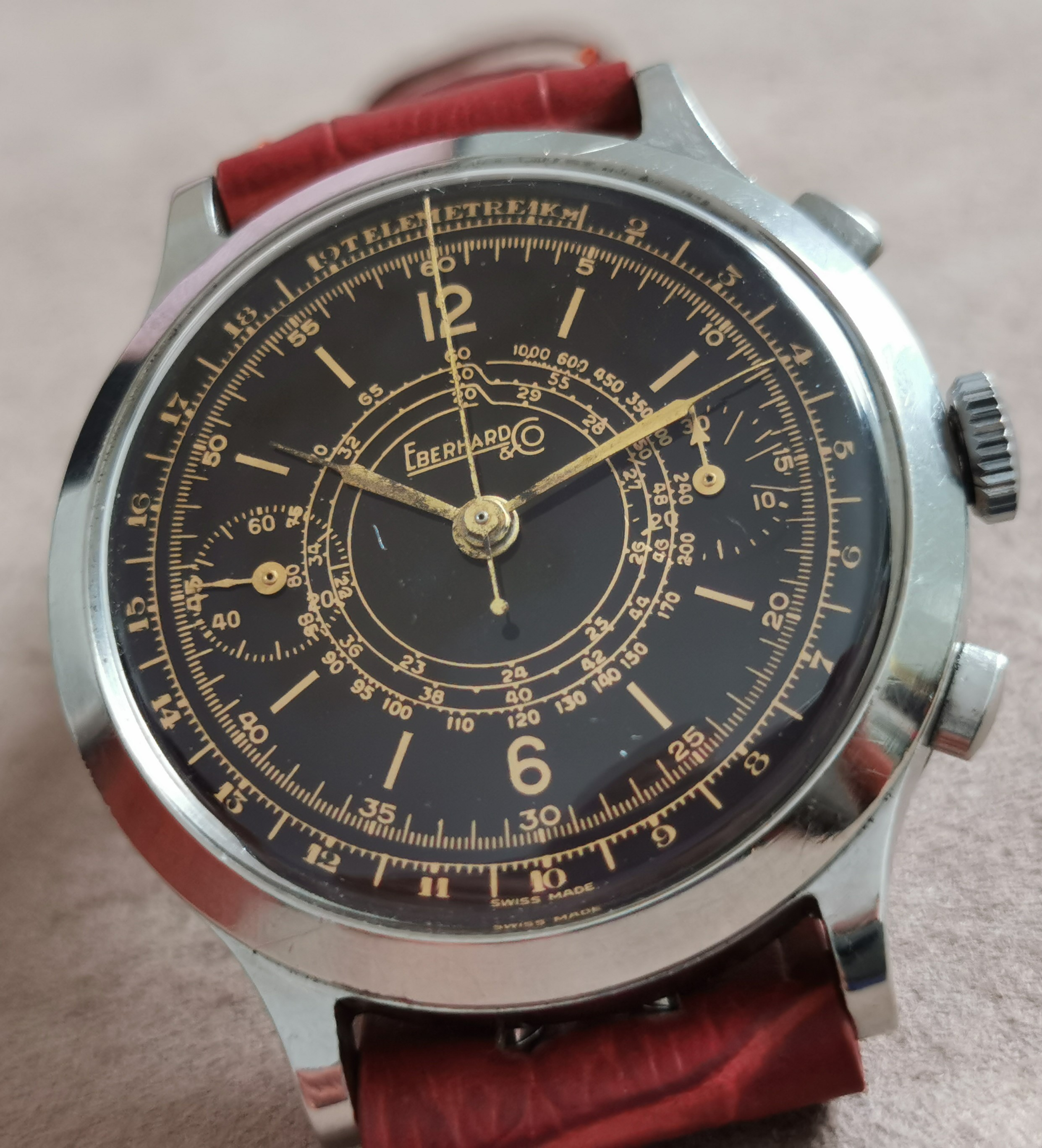 Eberhard & Co. Extra-Fort Extra Fort Oversize Chrono steel 40 mm refinished gilt dial caliber 16000 - box | San Giorgio a Cremano