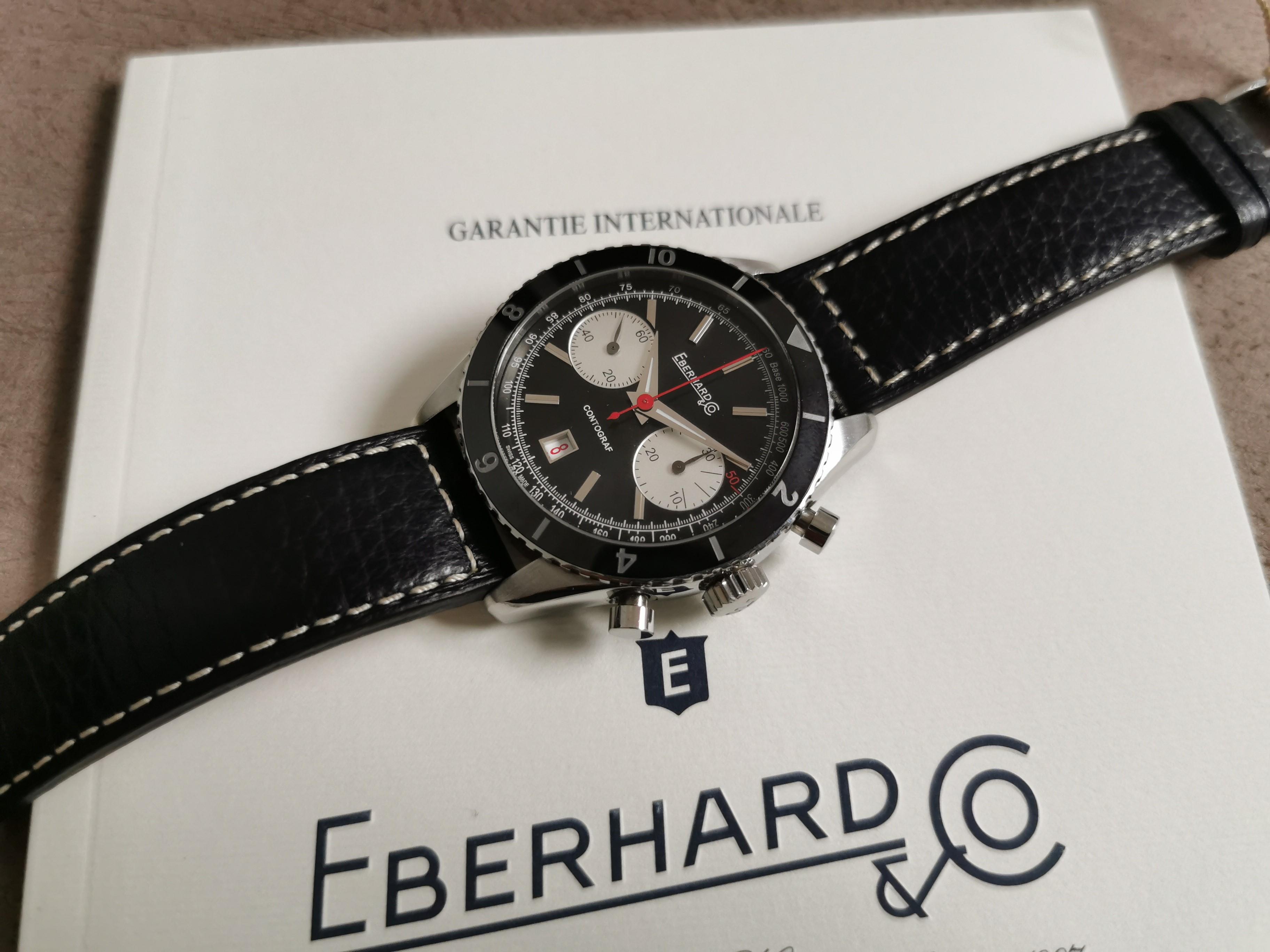 Eberhard & Co. Contograf Contograf 31069 CP chronograph steel mm 42 automatic black dial full set like new | San Giorgio a Cremano
