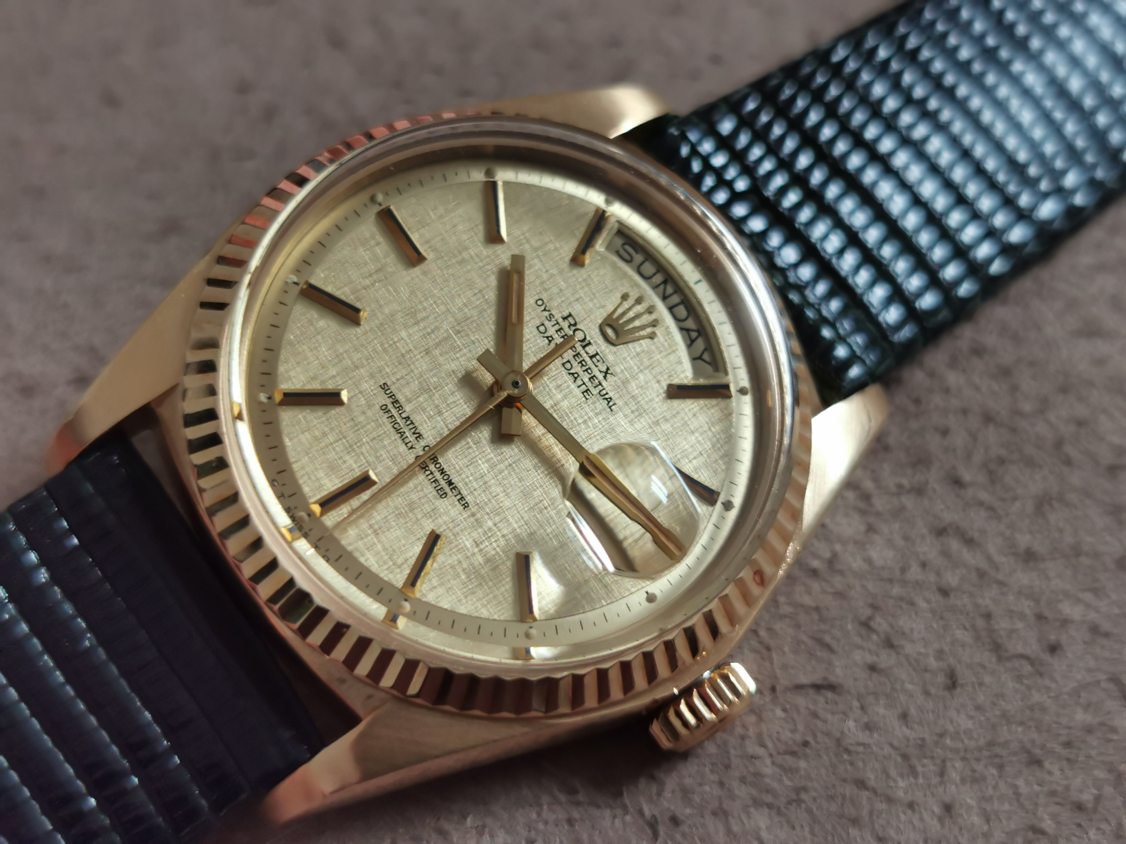 Rolex Day-Date / President Day Date President 1803 Yellow Gold 18 kt Linen Sigma Dial Watch 1977 | San Giorgio a Cremano