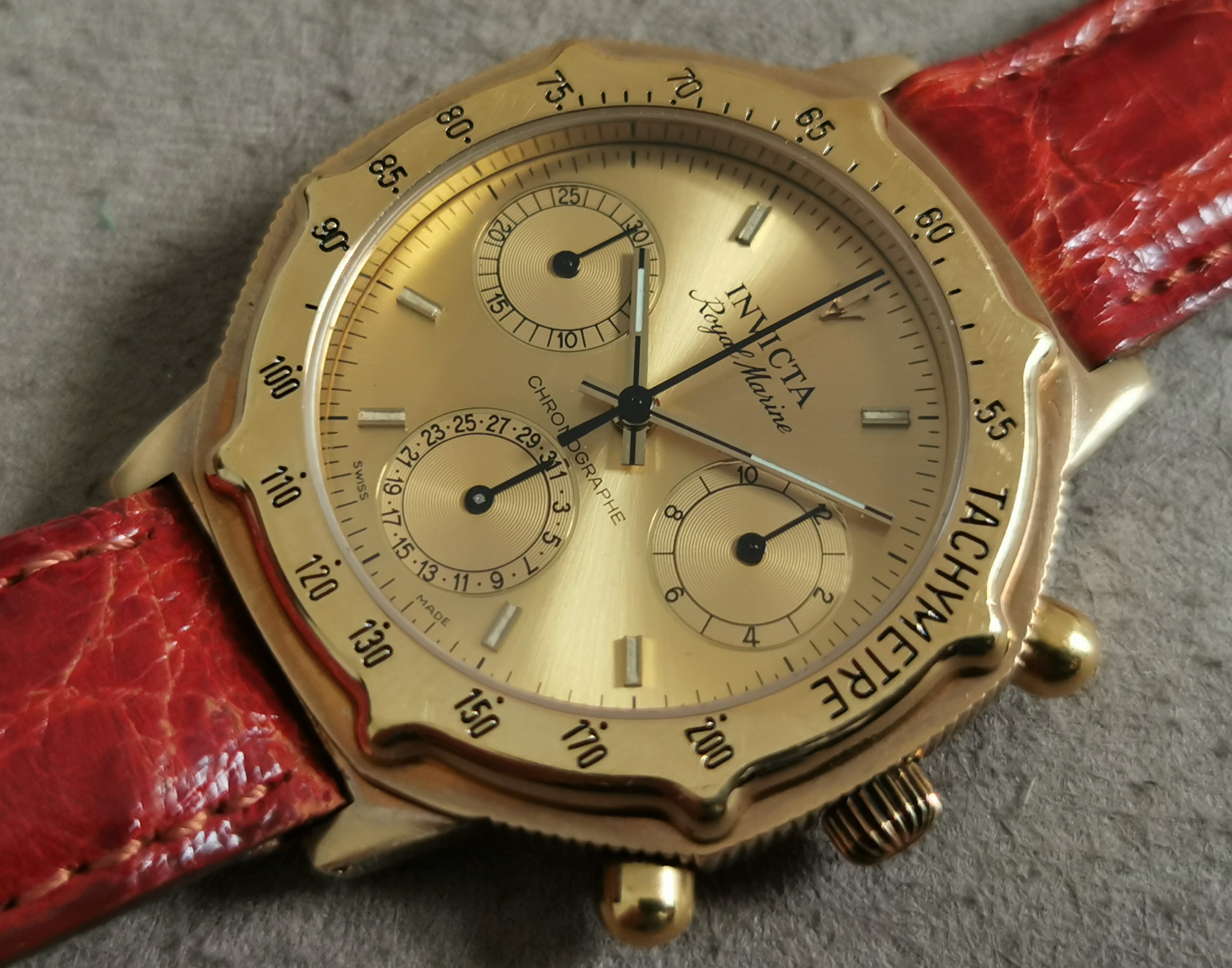 Invicta Royal Marine chrono ronda qz gold plated men's watch mm 36 newoldstock | San Giorgio a Cremano
