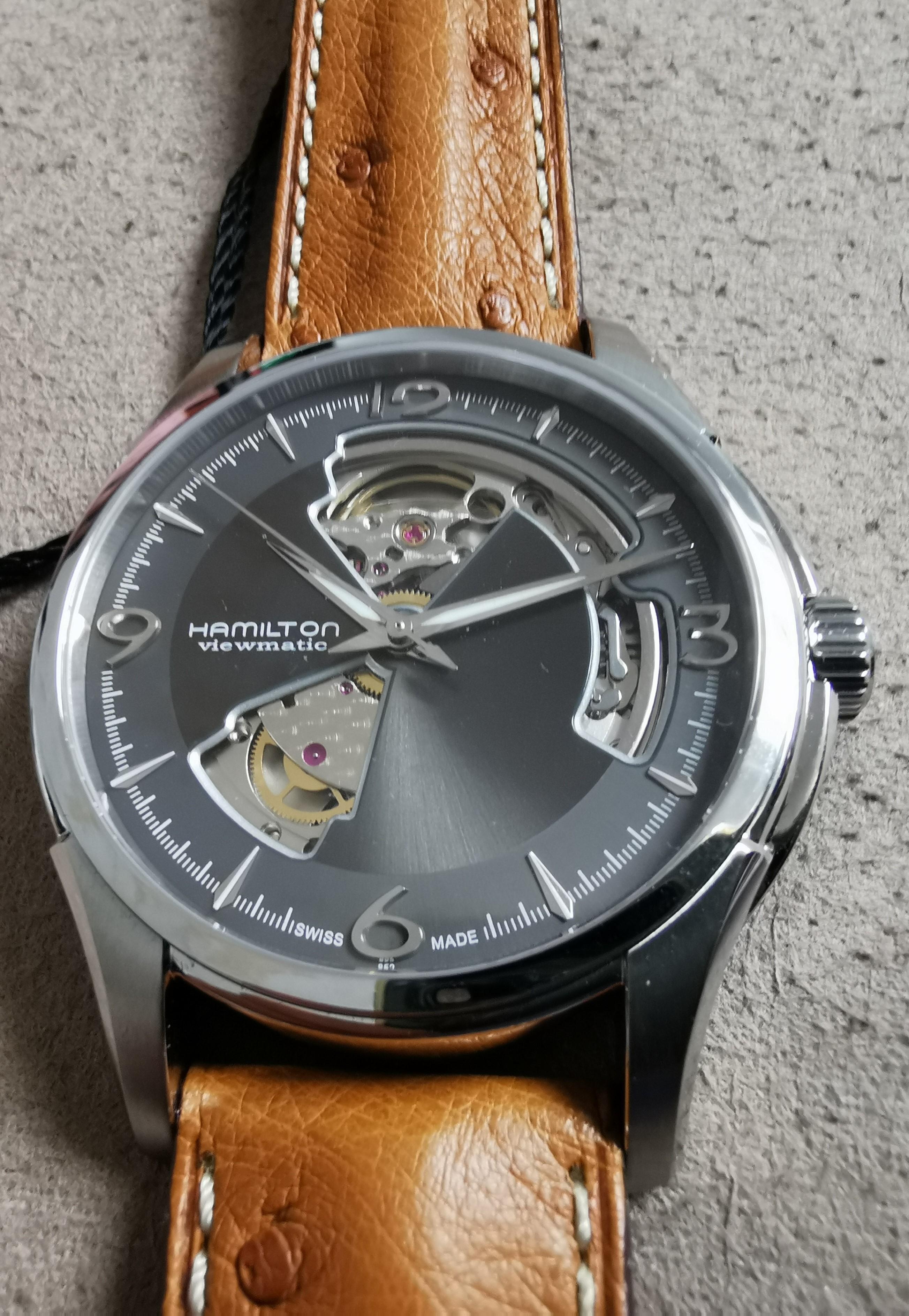 Hamilton Jazzmaster Open Heart Jazzmaster Open Heart Auto Grey Dial Brown Leather Strap Men's Watch H32565585 | San Giorgio a Cremano