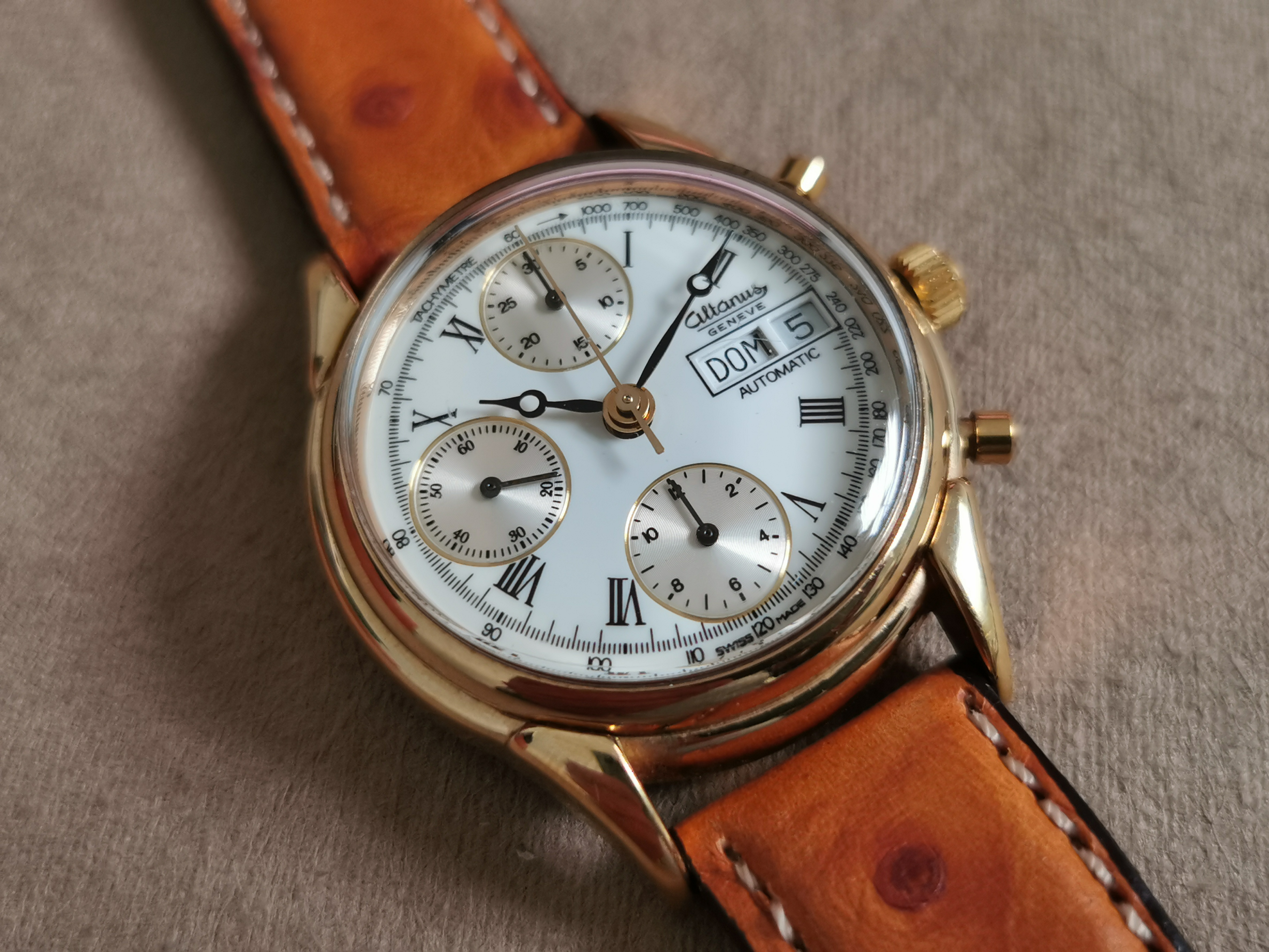 Altanus Chronograph automatic gold plated day date automatic caliber 7750 – men's watch like new | San Giorgio a Cremano