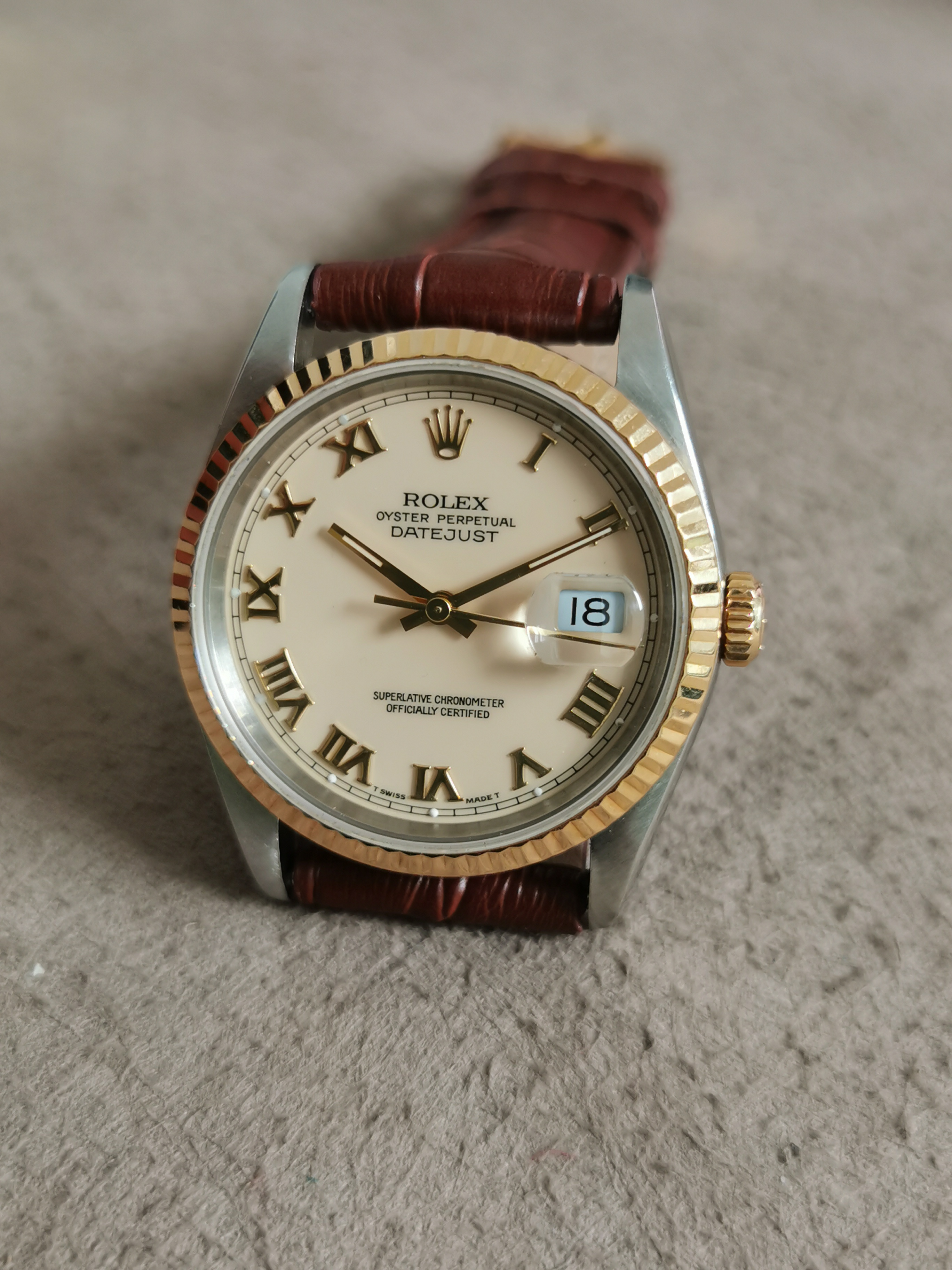 Rolex Datejust Datejust Steel Yellow Gold 18 Kt Ivory Roman Dial Men's Watch 16233 Leather Strap 1991 | San Giorgio a Cremano