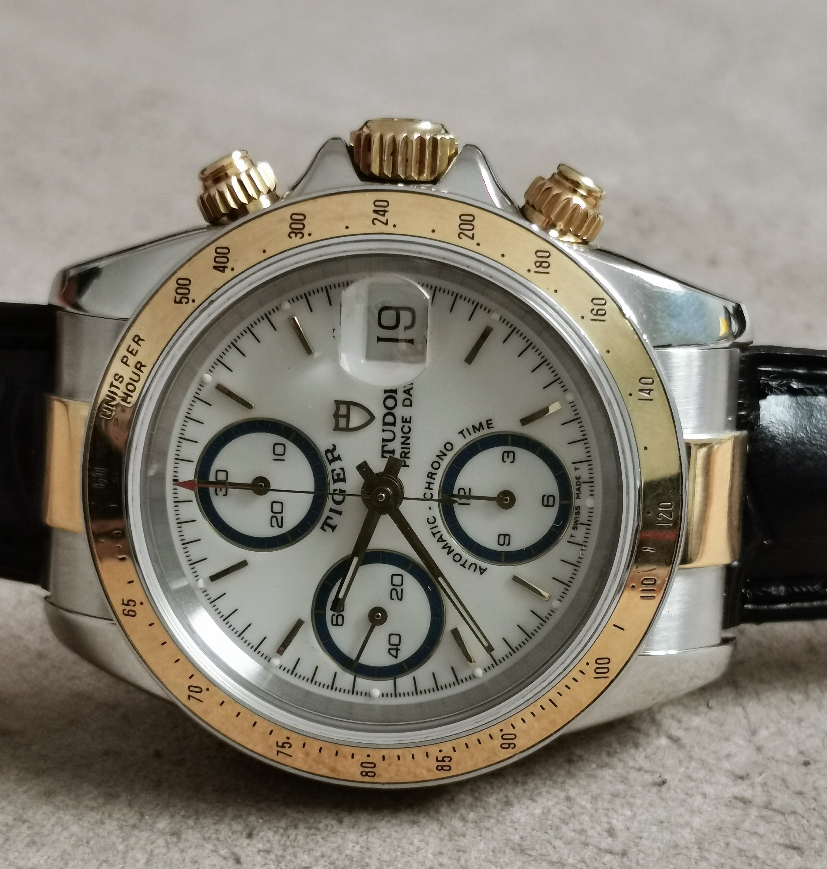 Tudor Tiger Prince Date Prince Date Tiger chrono steel and gold white dial leather deplo box and warranty 1998 | San Giorgio a Cremano
