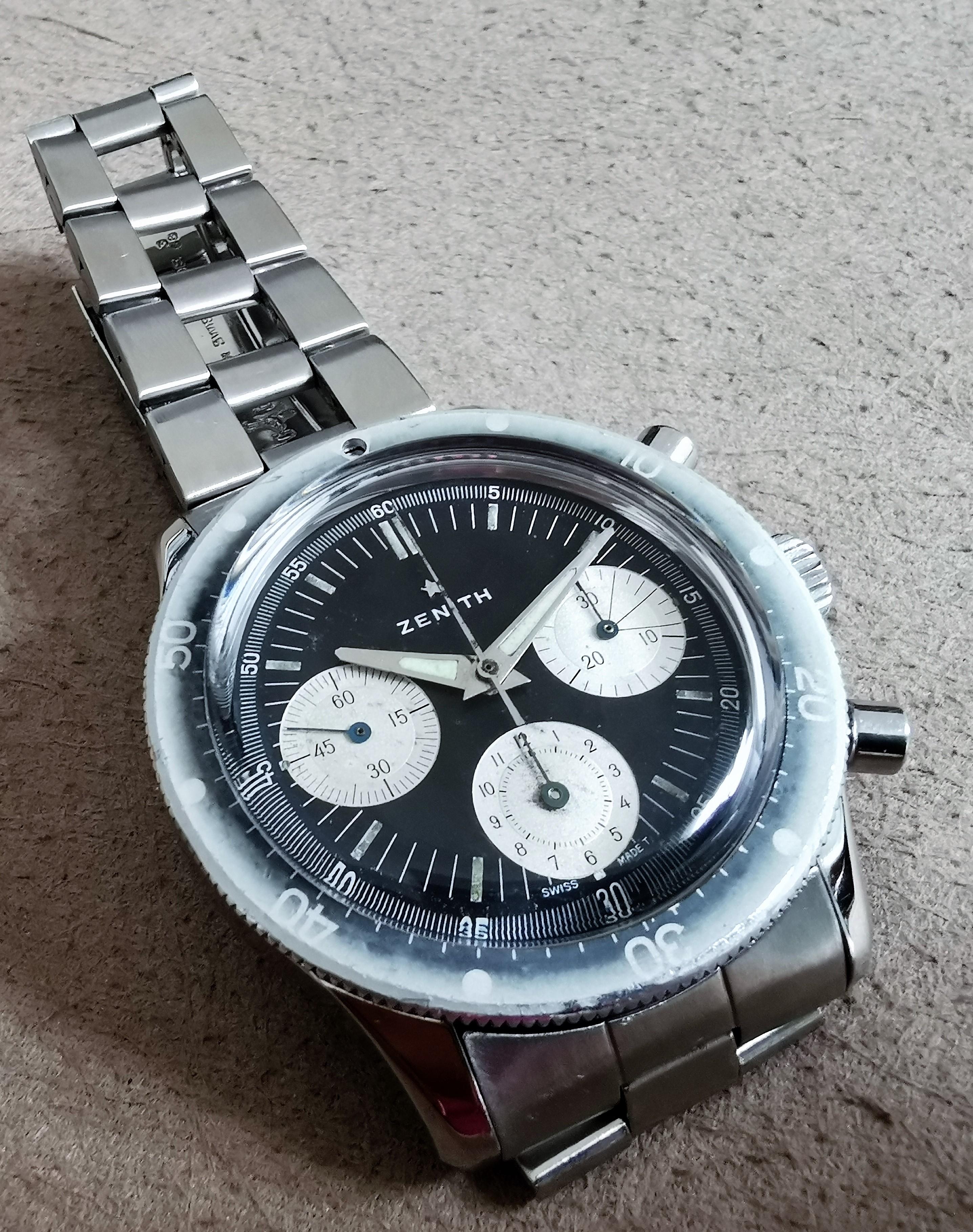 Zenith A277 diver chronograph ghost bezel black dial 146HP Mark 1 Gay Freres 3-68 | San Giorgio a Cremano