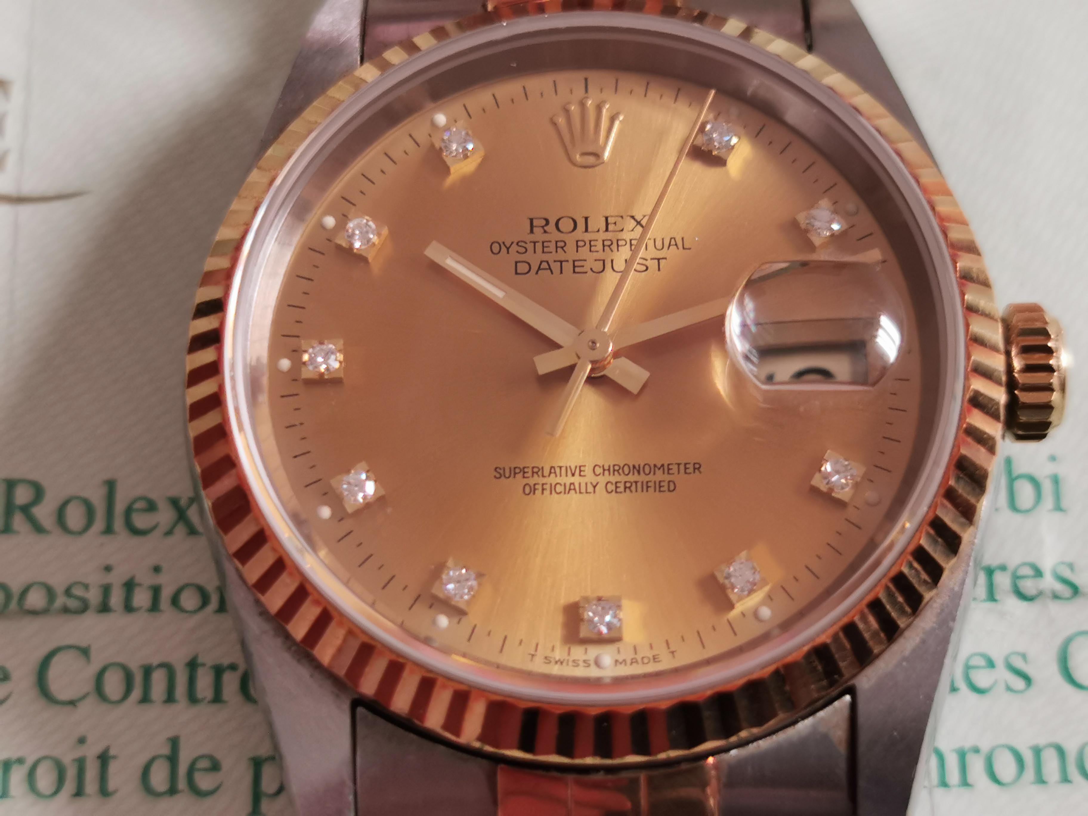 Rolex Datejust Datejust 18 Kt Gold/Steel 16233 Champagne Diamond Dial jubilee - warranty 1994 | San Giorgio a Cremano