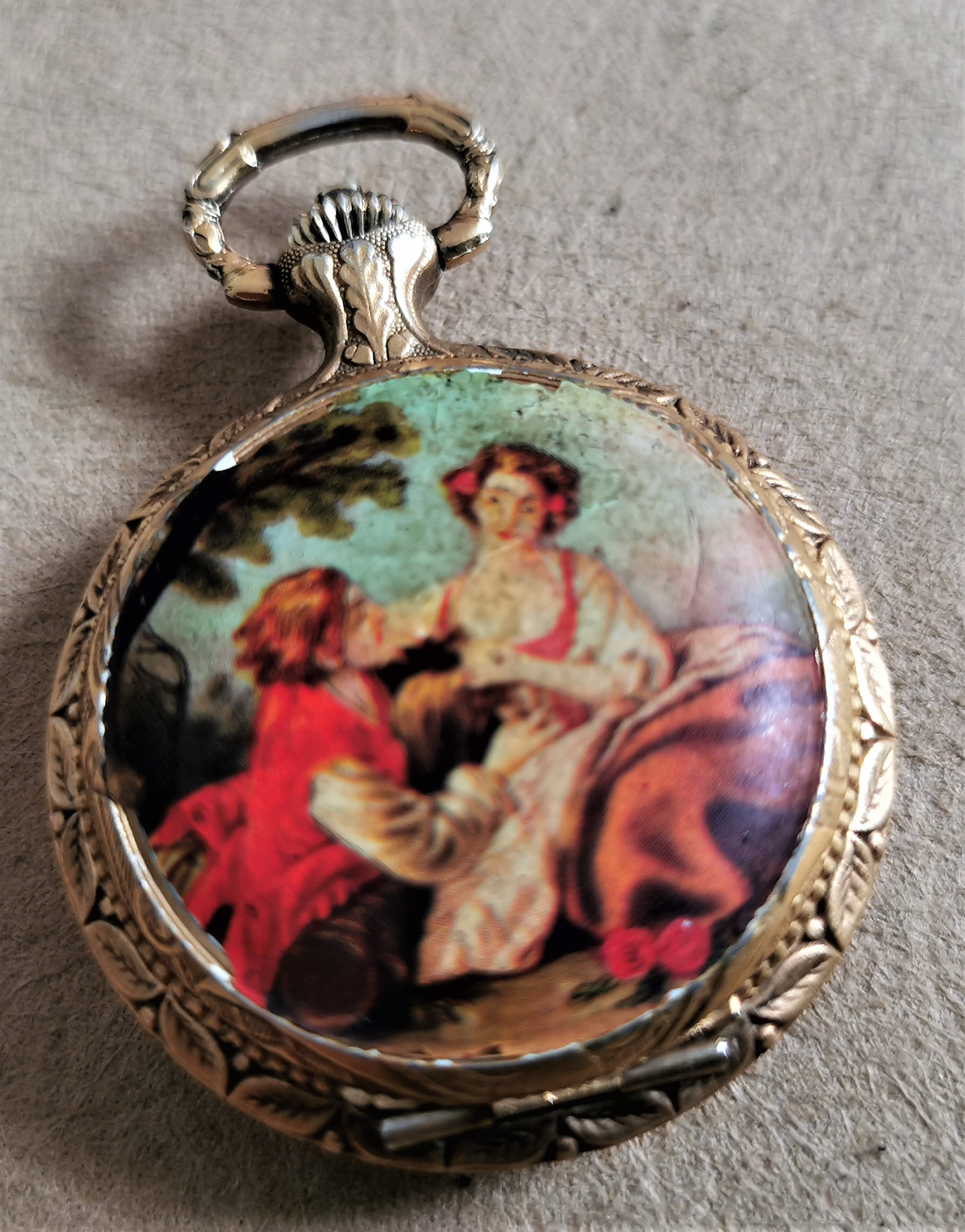 Anonimo Avia pocket watch romantic scene gold plated mm 37 manual wind 17 jewels Swiss Made | San Giorgio a Cremano