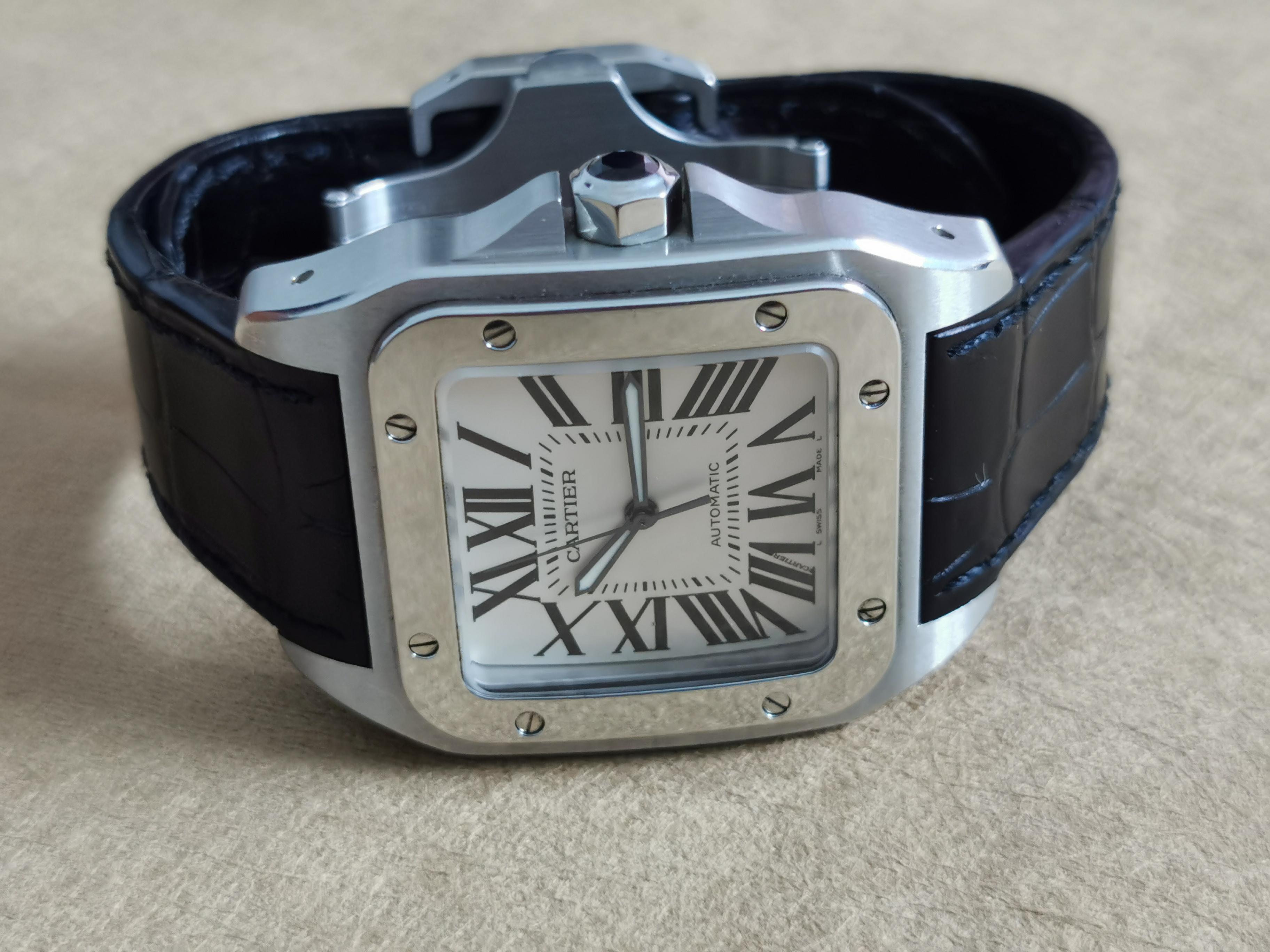 Cartier Santos 100 Santos 100 XL 2656 On Leather Band With Deplo - Good Condition - Box | San Giorgio a Cremano