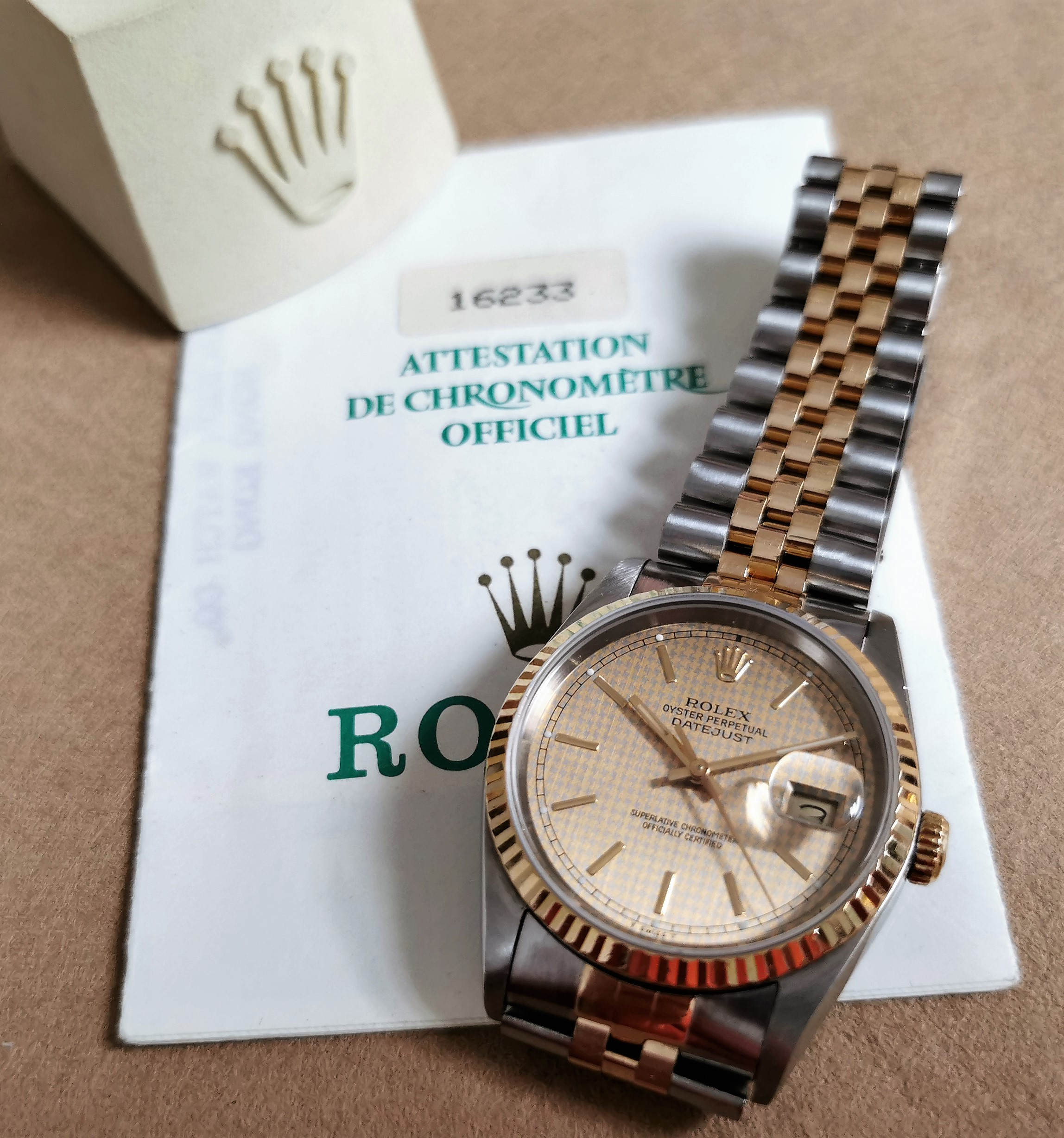 Rolex Datejust Datejust 36 mm 18 Kt Gold and Steel Jubilee Houndstooth Dial - Warranty 1991 | San Giorgio a Cremano