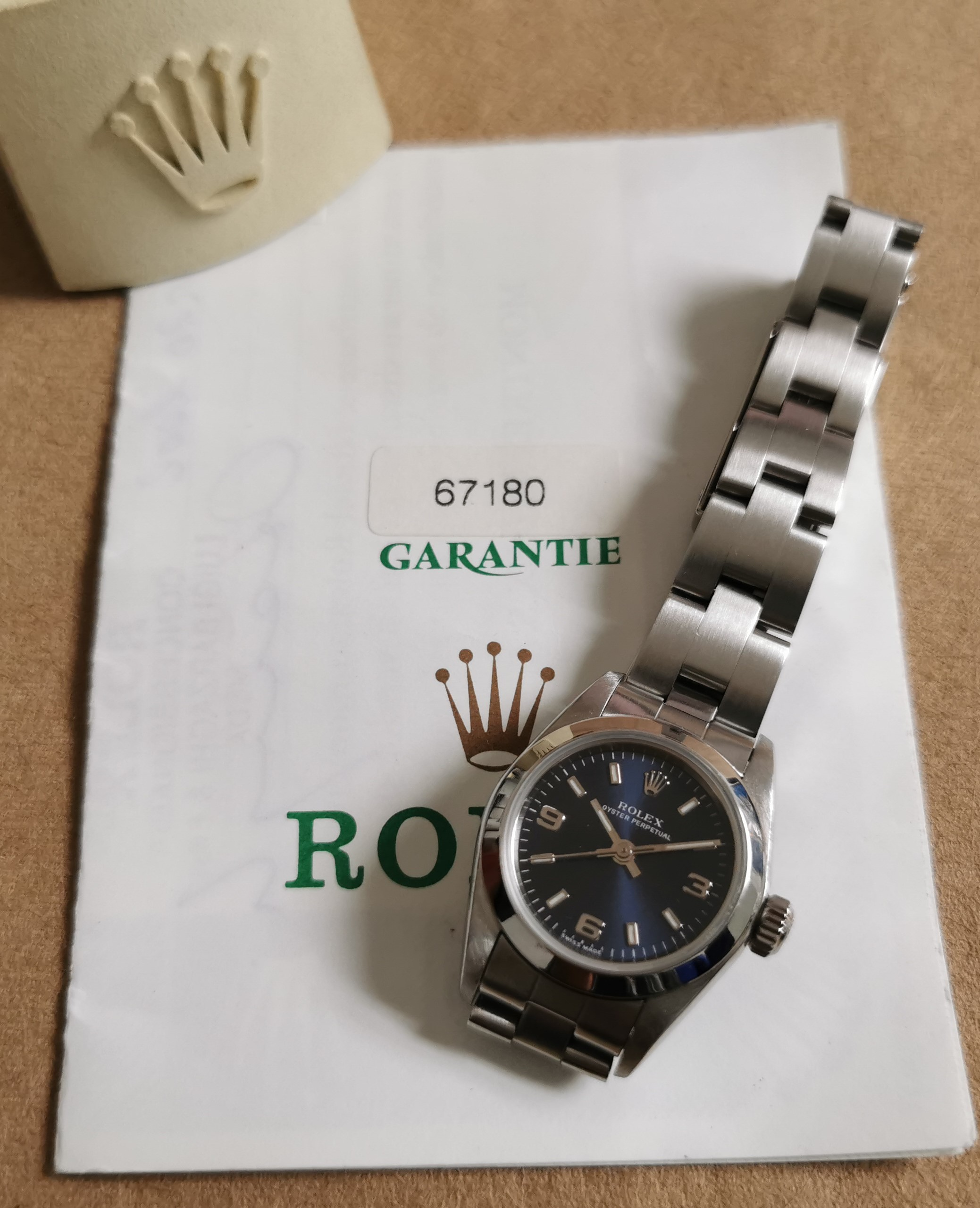 Rolex Oyster Perpetual Lady Oyster Perpetual No date Ladies Steel Blue 3-6-9 Dial Watch 67180 Warranty 1998 | San Giorgio a Cremano