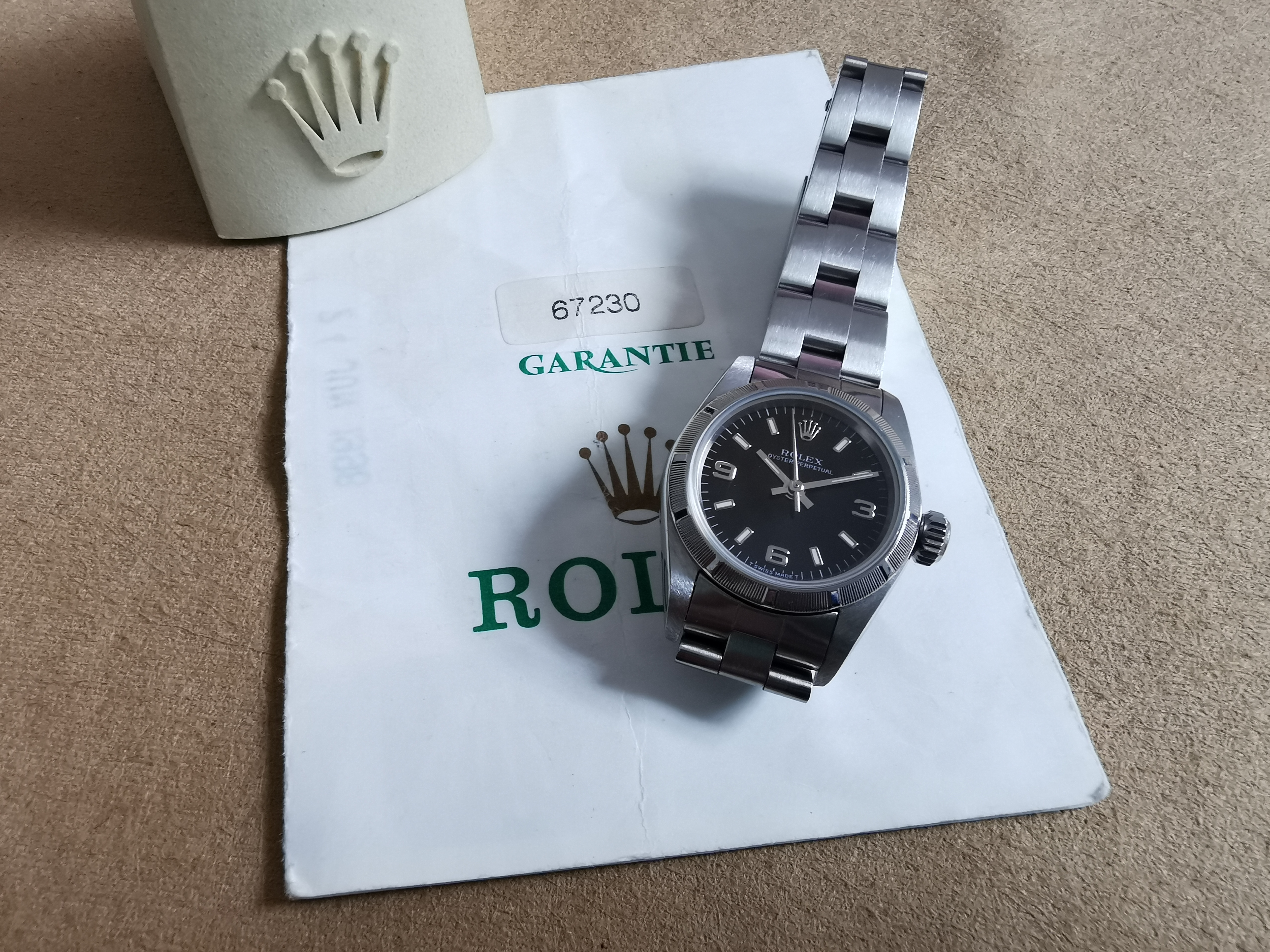 Rolex Oyster Perpetual Lady Ladies Oyster Perpetual Watch 67230 Black Dial Warranty 2002 | San Giorgio a Cremano