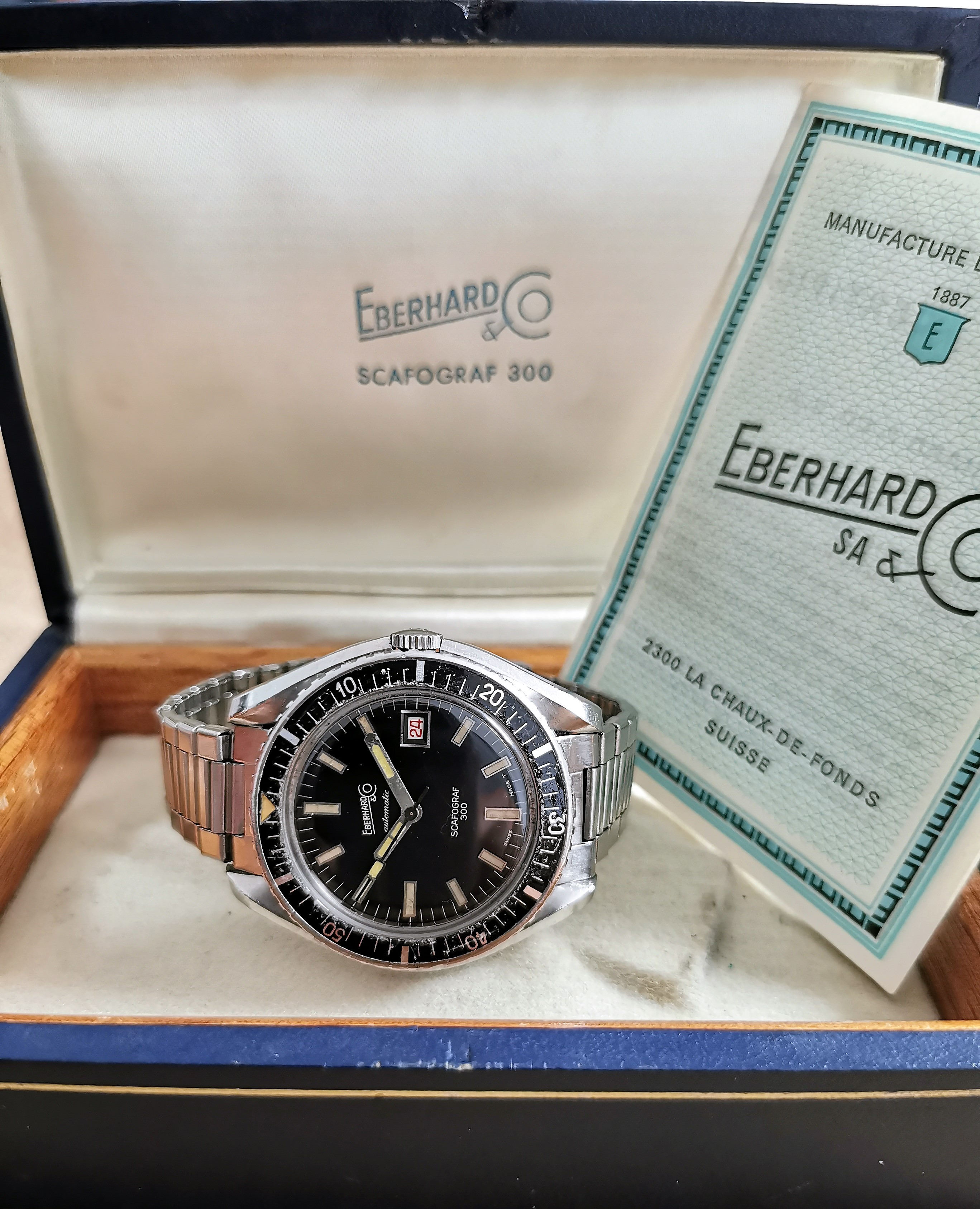 Eberhard & Co. Scafograf 300 rare vintage diver Scafograf 300 steel mm 43 black dial elastic bracelet 4-65 full set   San Giorgio a Cremano